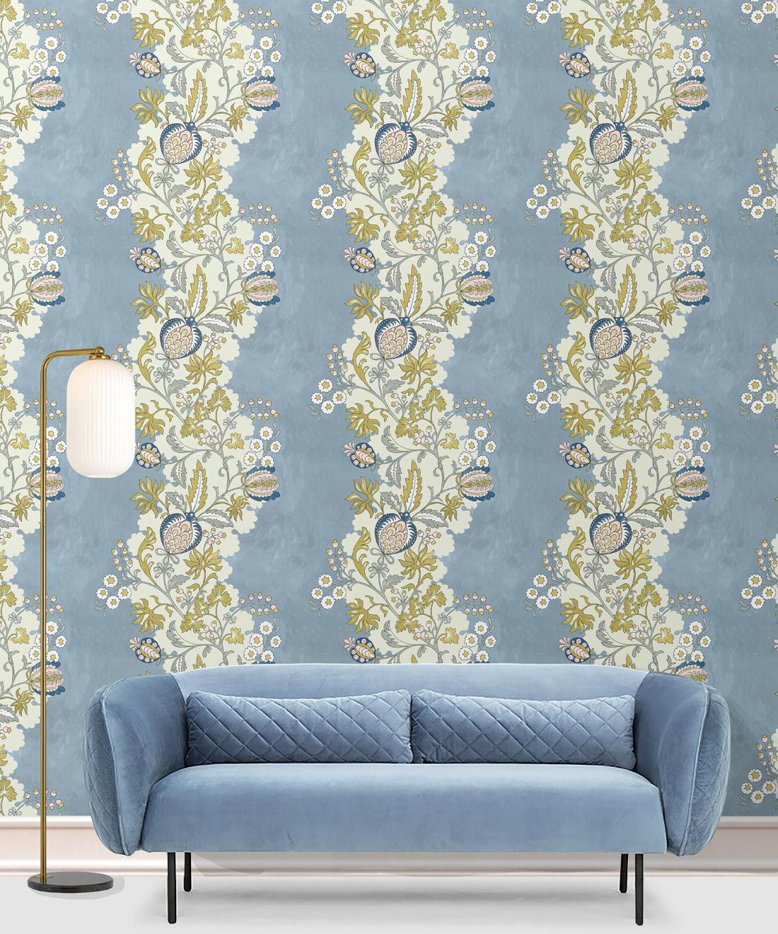 Pomegranate Wallpaper • French Blue • Insitu with blue sofa