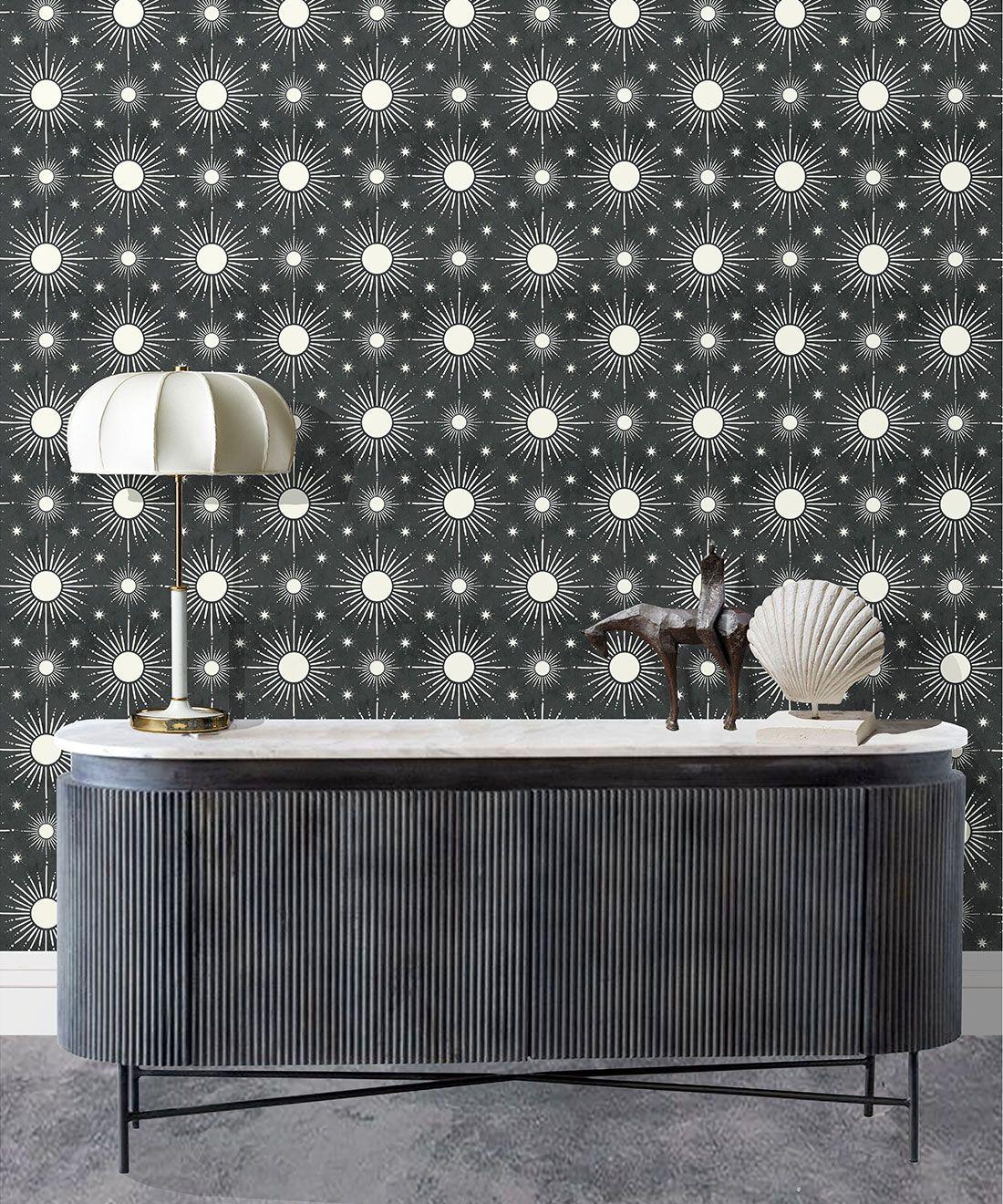 Sun Light Star Bright Wallpaper • Charcoal • insitu
