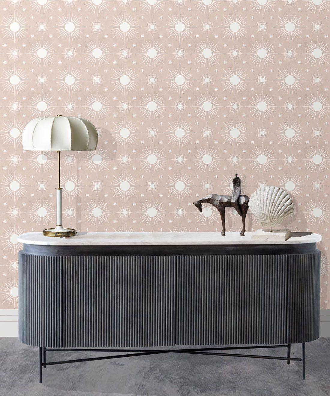 Sun Light Star Bright Wallpaper • Dusty Pink • Insitu