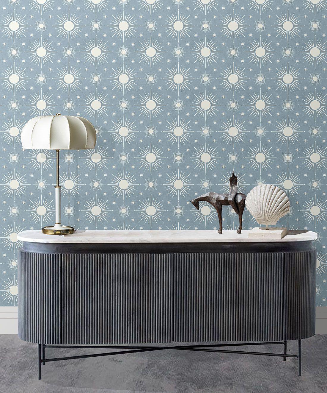 Sun Light Star Bright Wallpaper • French Blue• Insitu