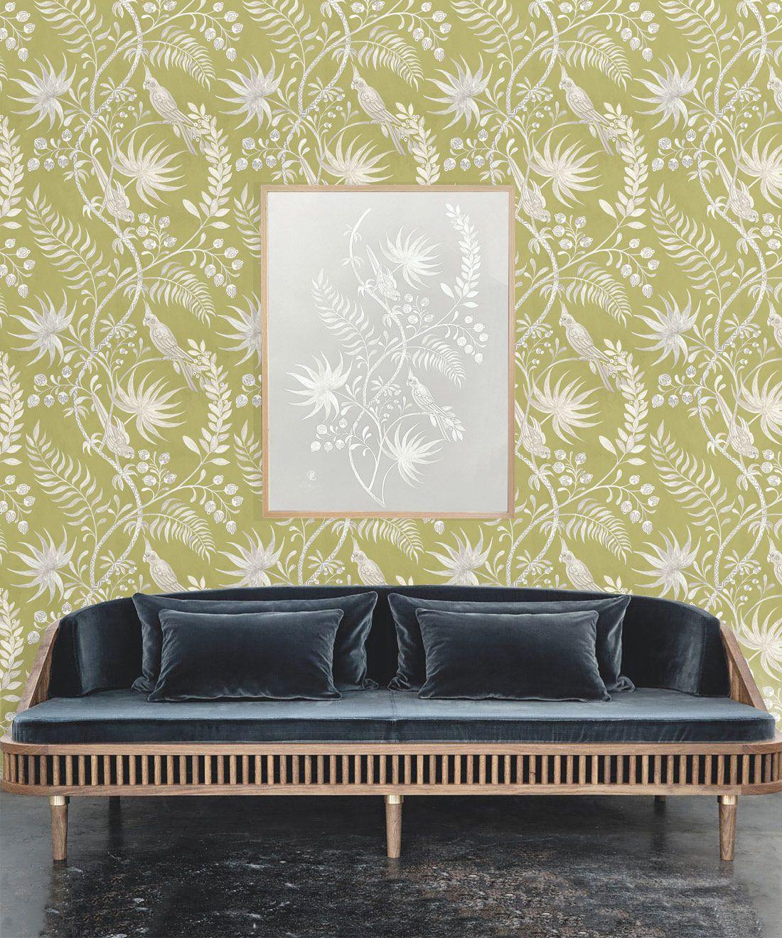 Tropicana Wallpaper • Chartreuse • Insitu