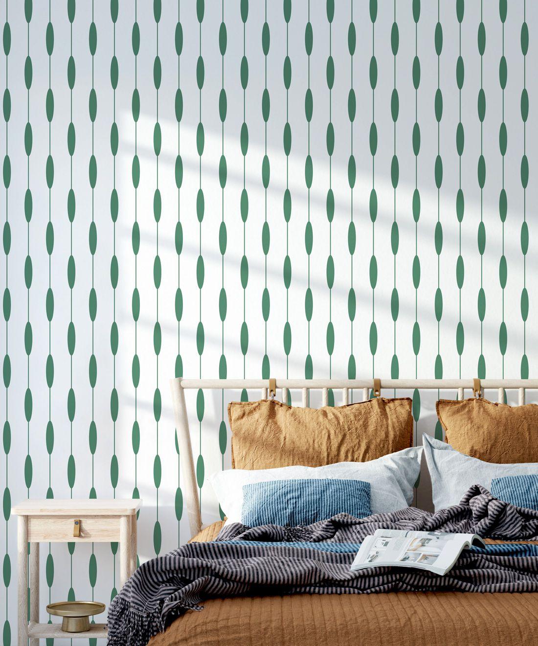 Bowline Wallpaper • Geometric Wallpaper • Striped Wallpaper • Green Wallpaper •Insitu