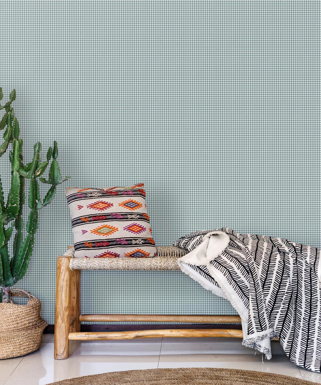 Houndstooth Wallpaper • Dogstooth Wallpaper • Teal Pewter •Insitu