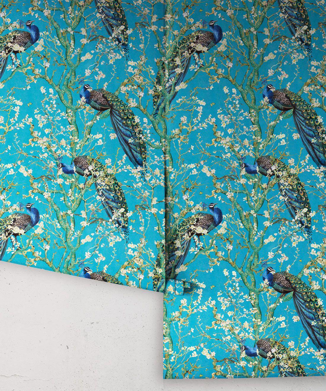 Almond Blossom Wallpaper • Chinoiserie Wallpaper • Wallpaper with Peacocks • Light Blue Duck Egg Wallpaper •Rolls
