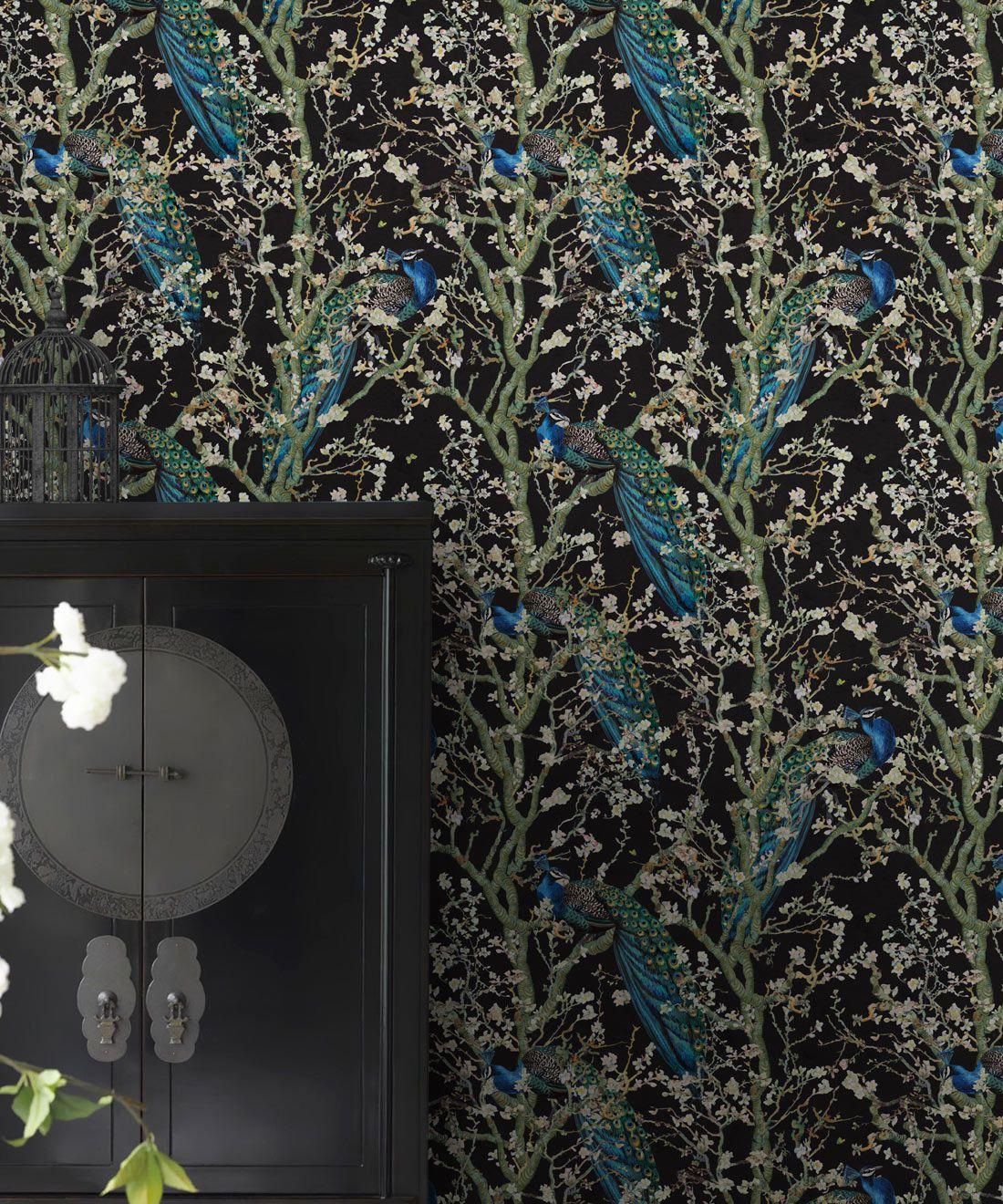Almond Blossom Wallpaper • Chinoiserie Wallpaper • Wallpaper with Peacocks • Black Night Wallpaper •Insitu