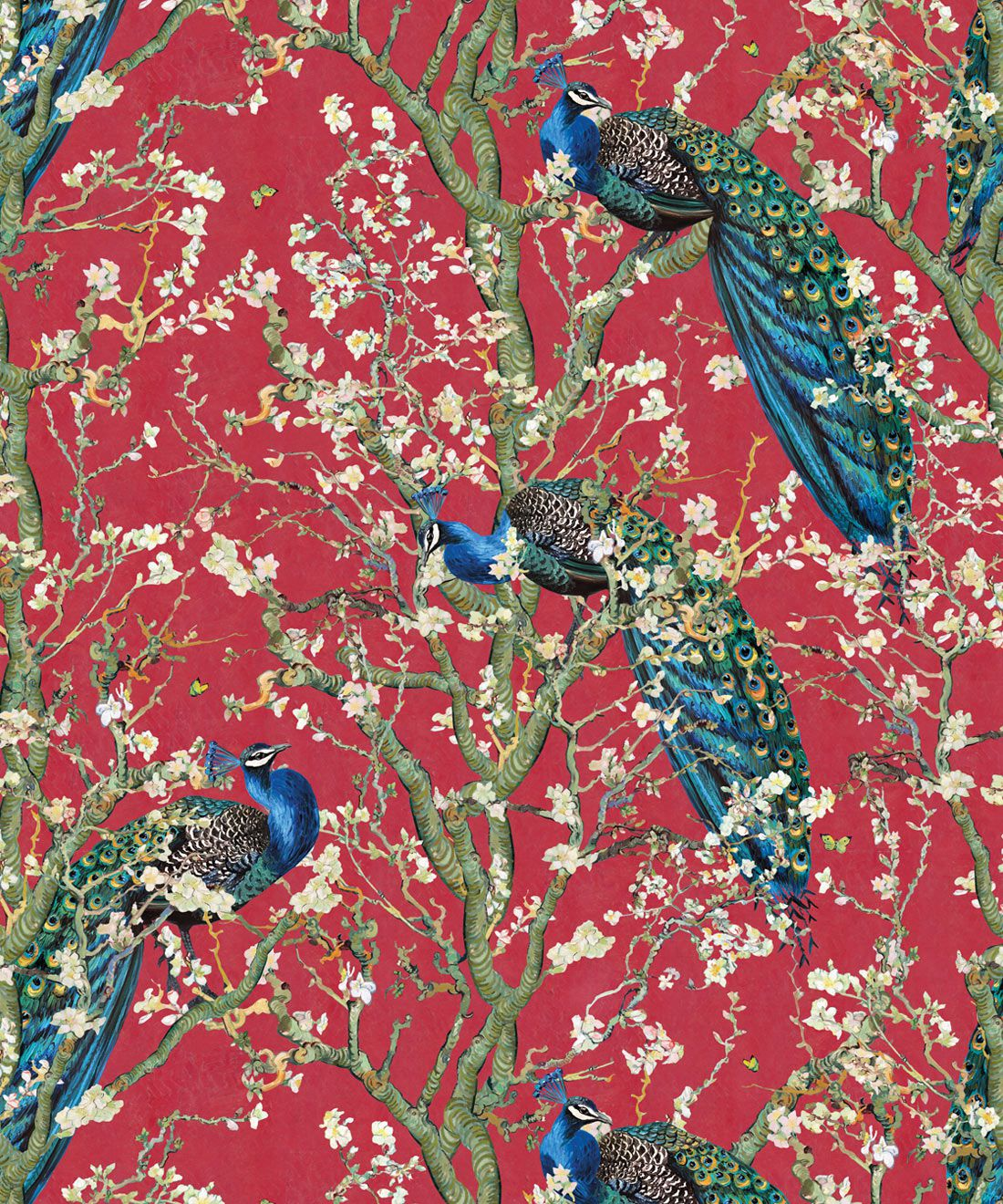 Almond Blossom Wallpaper • Chinoiserie Wallpaper • Wallpaper with Peacocks • Red Lantern Wallpaper •Swatch