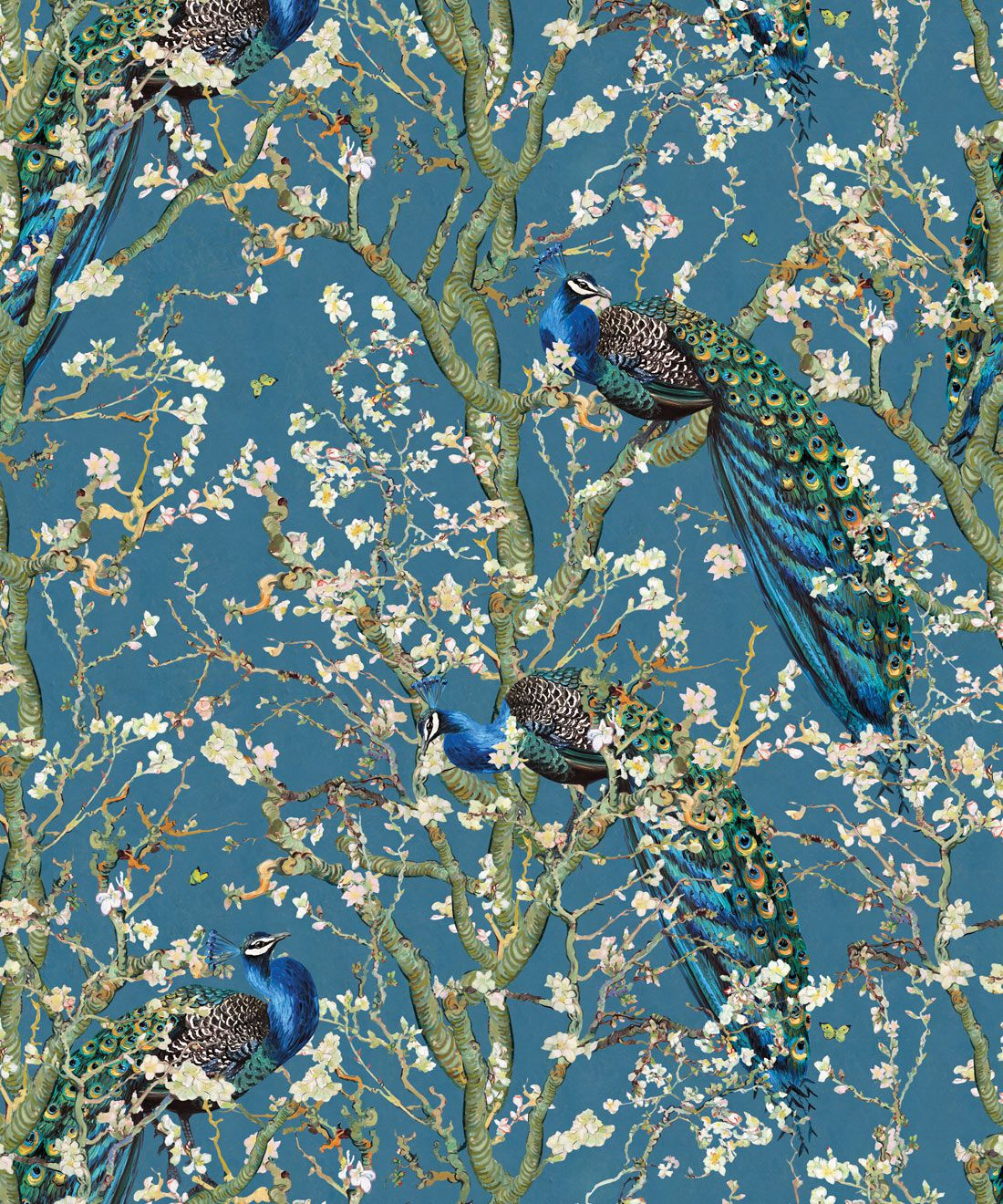 Almond Blossom Wallpaper • Chinoiserie Wallpaper • Wallpaper with Peacocks • Royal Blue Wallpaper •Swatch