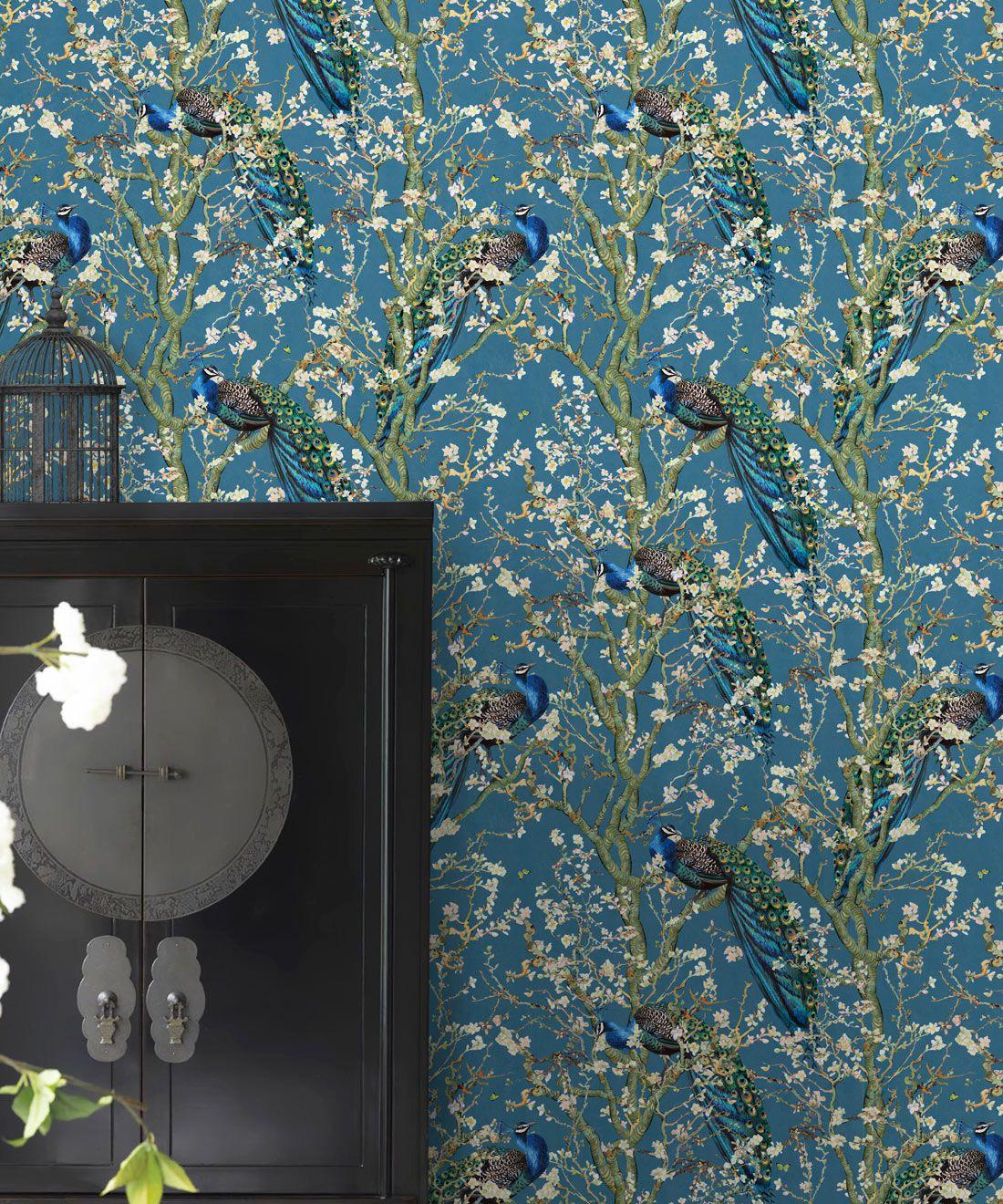 Almond Blossom Wallpaper • Chinoiserie Wallpaper • Wallpaper with Peacocks • Royal Blue Wallpaper •Insitu