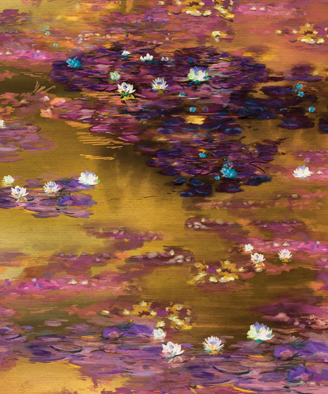 Water Lillies Wallpaper • Abstract Wallpaper • Dreamy Wallpaper • Luminere Wallpaper • Swatch