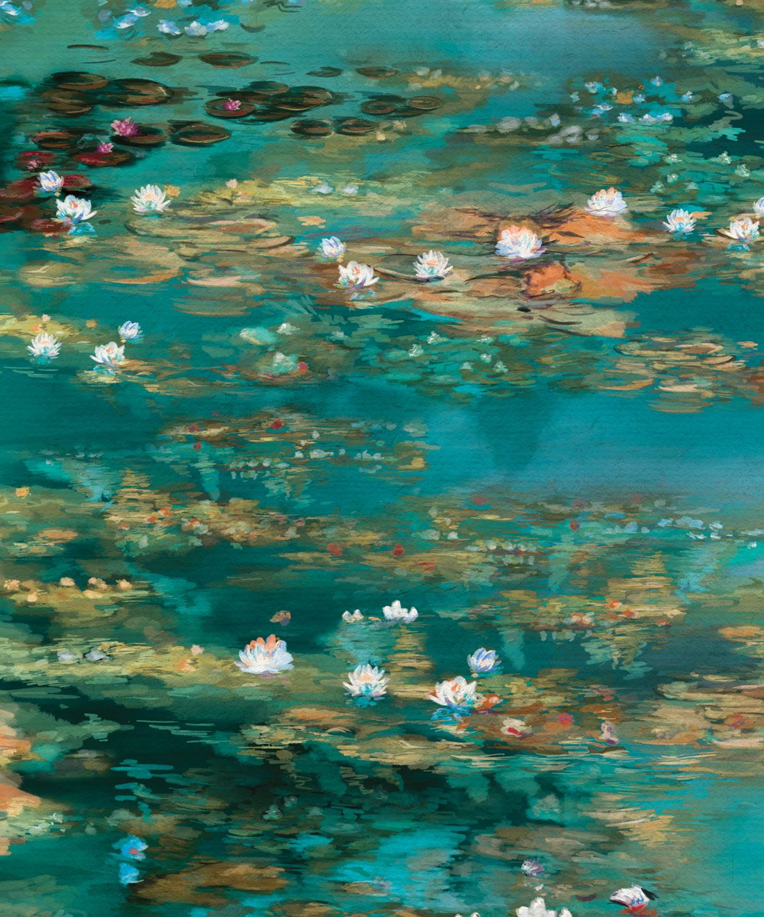 Water Lillies Wallpaper • Abstract Wallpaper • Dreamy Wallpaper • Teal Wallpaper • Swatch
