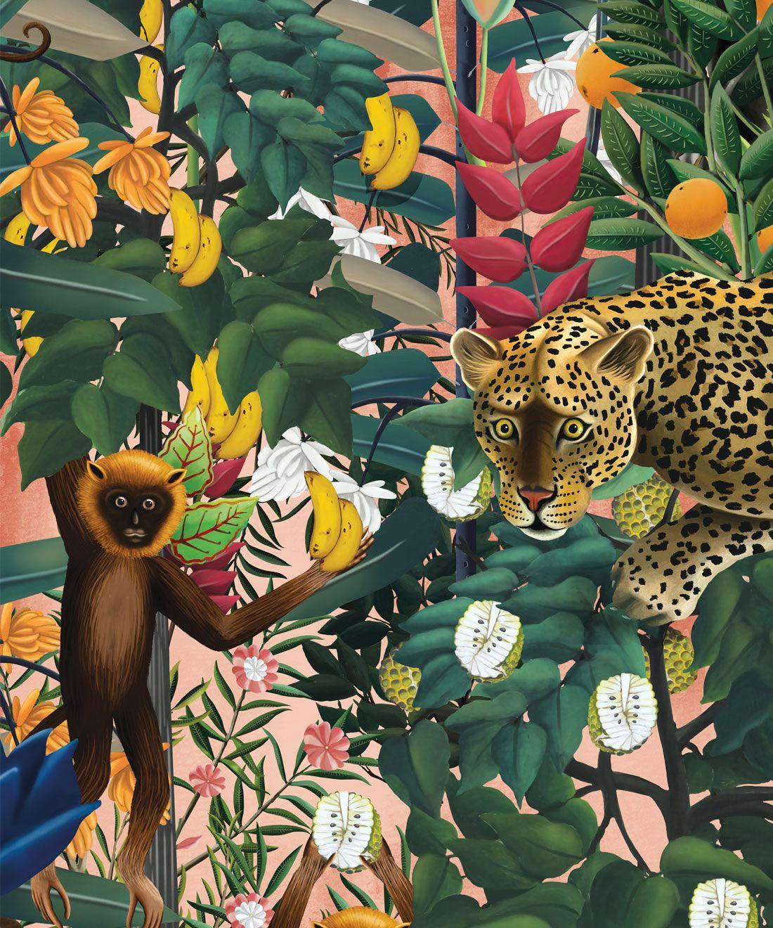 The Jungle Wallpaper • Animal Wallpaper • Botanical Wallpaper • Coral Wallpaper • Swatch