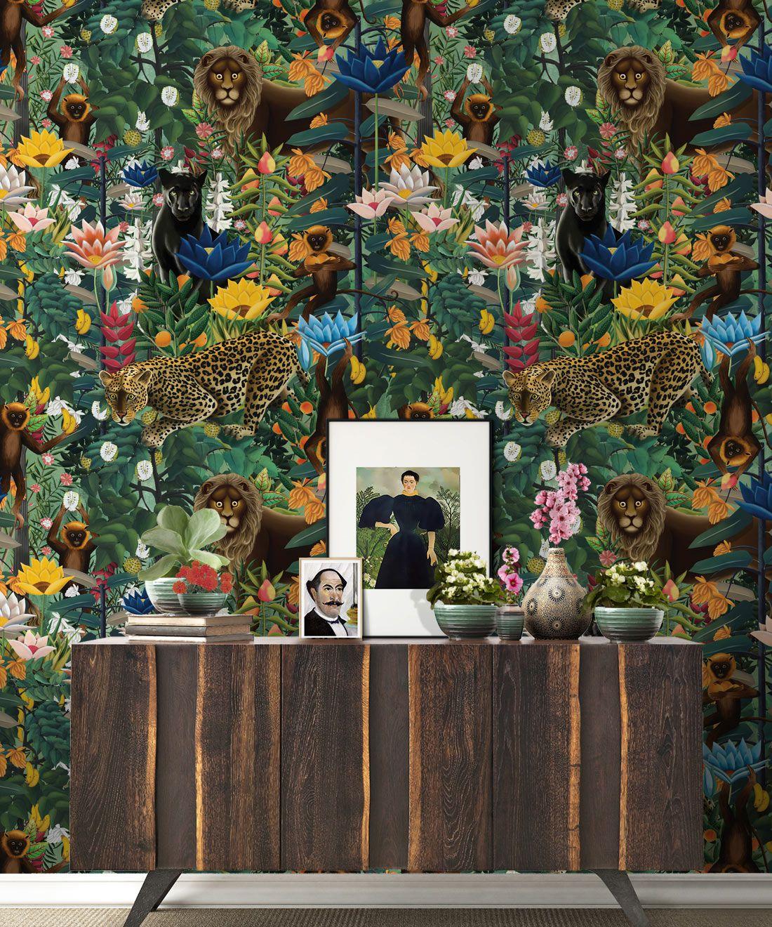 The Jungle Wallpaper • Animal Wallpaper • Botanical Wallpaper • Greenery Wallpaper • Insitu