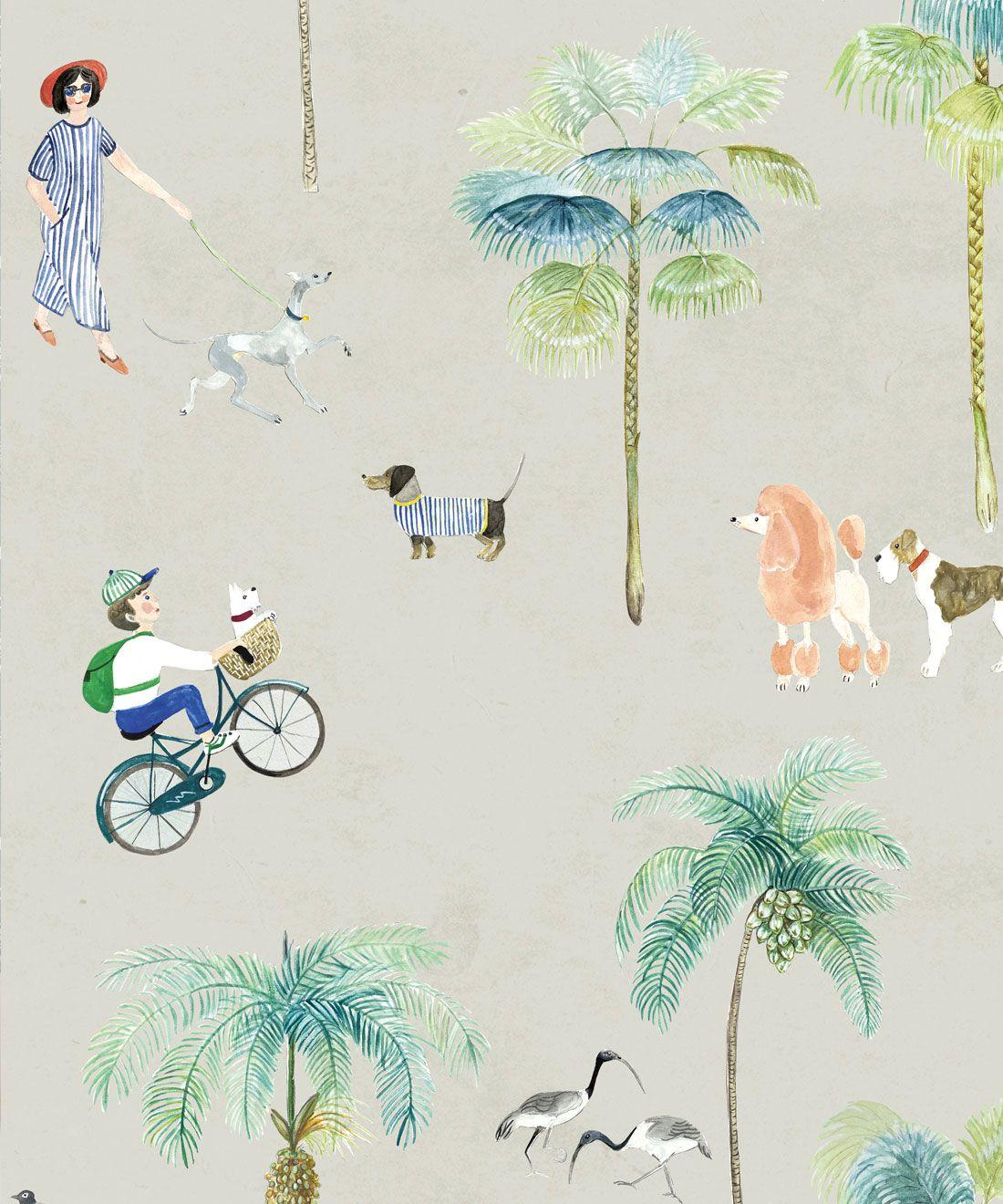 At The Dog Park Wallpaper •Kids Wallpaper • Beige • Swatch