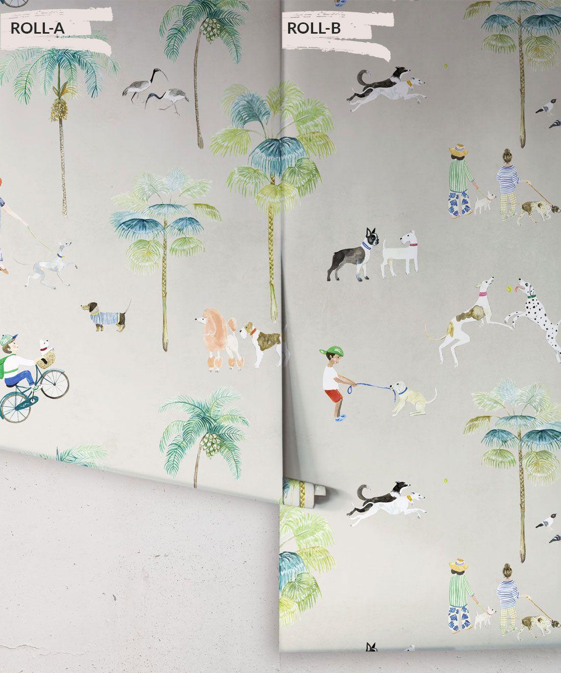 At The Dog Park Wallpaper •Kids Wallpaper • Beige • Rolls