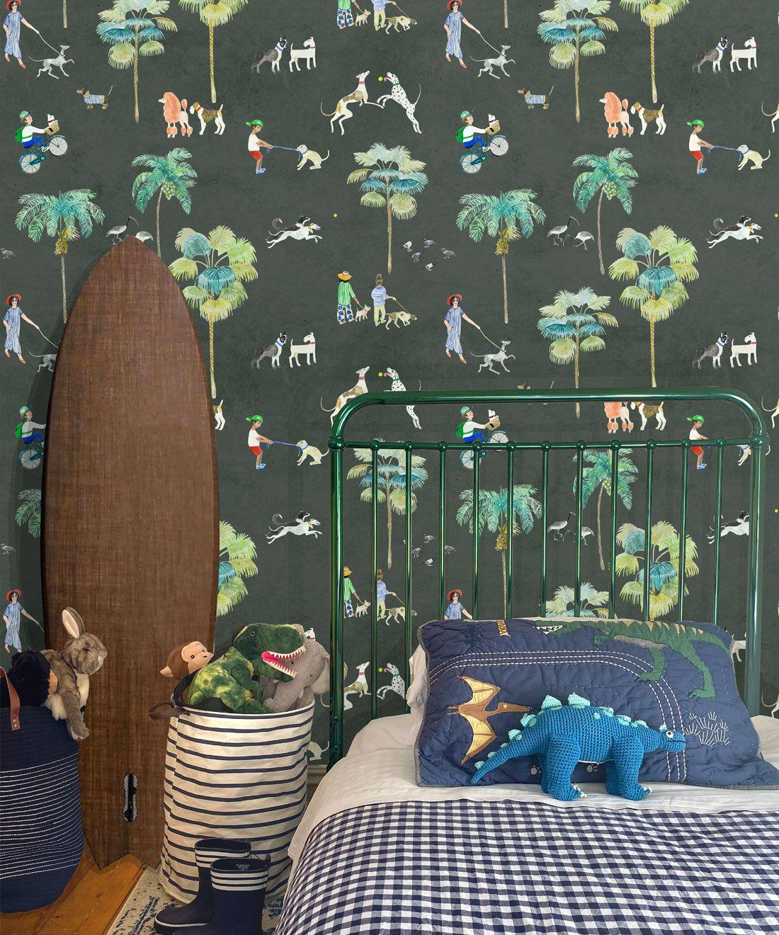 At The Dog Park Wallpaper •Kids Wallpaper • Charcoal • Insitu