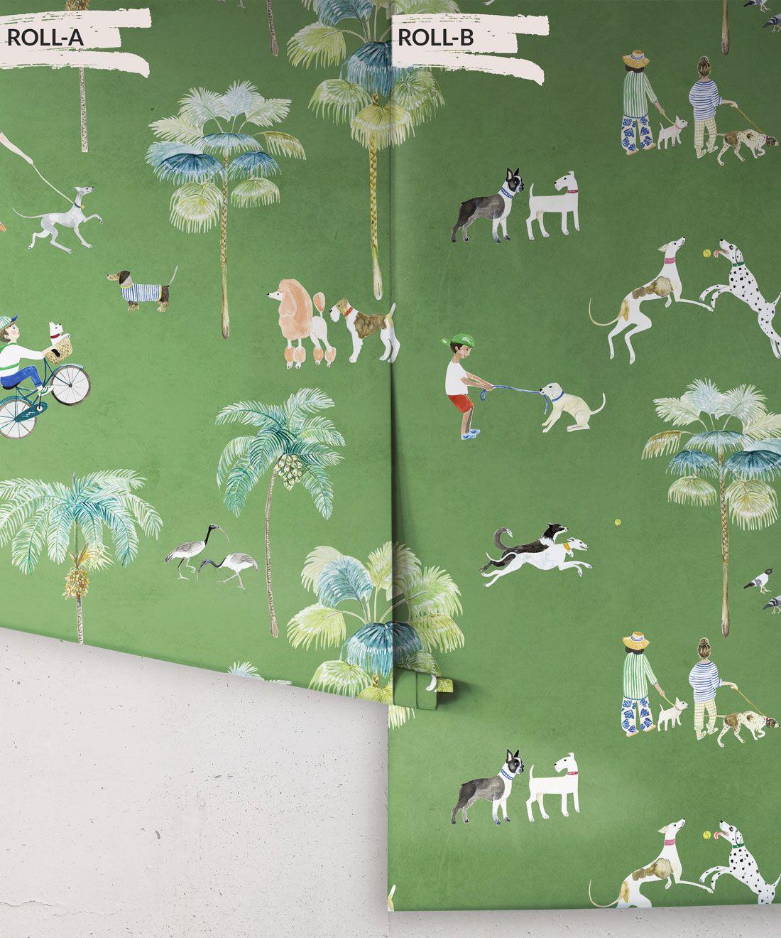 At The Dog Park Wallpaper •Kids Wallpaper • Green • Rolls