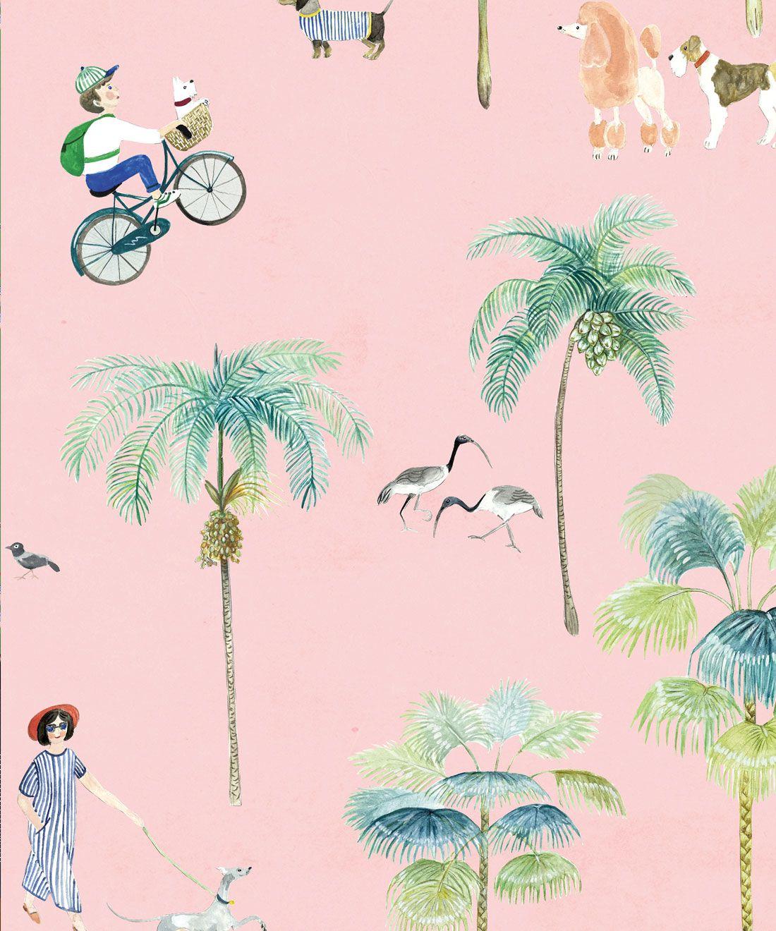 At The Dog Park Wallpaper •Kids Wallpaper • Pink • Swatch