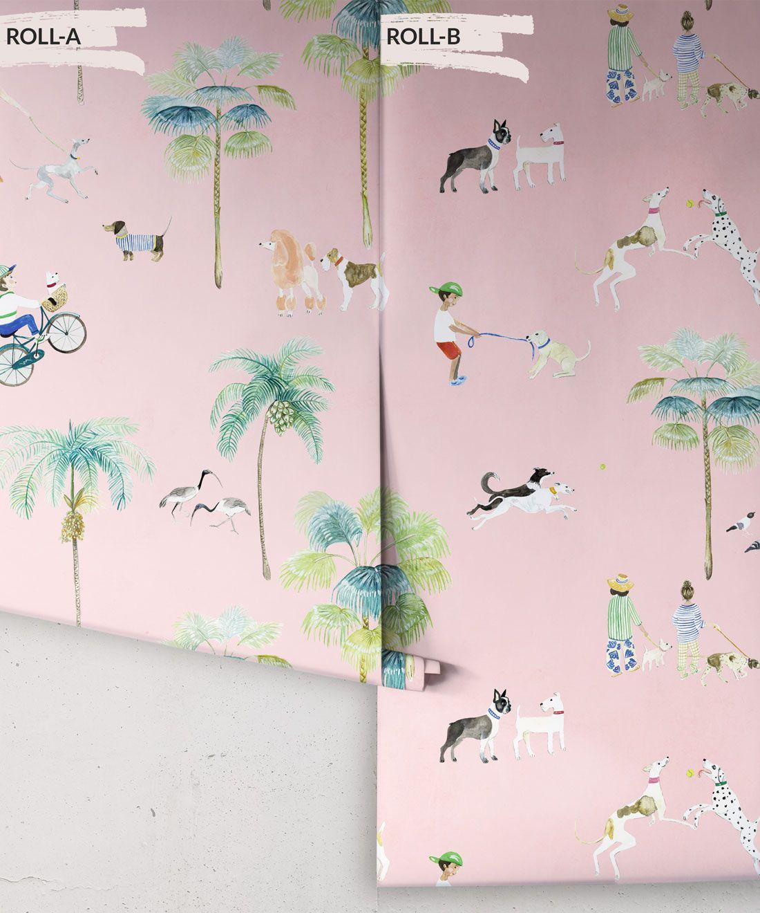 At The Dog Park Wallpaper •Kids Wallpaper • Pink • Rolls