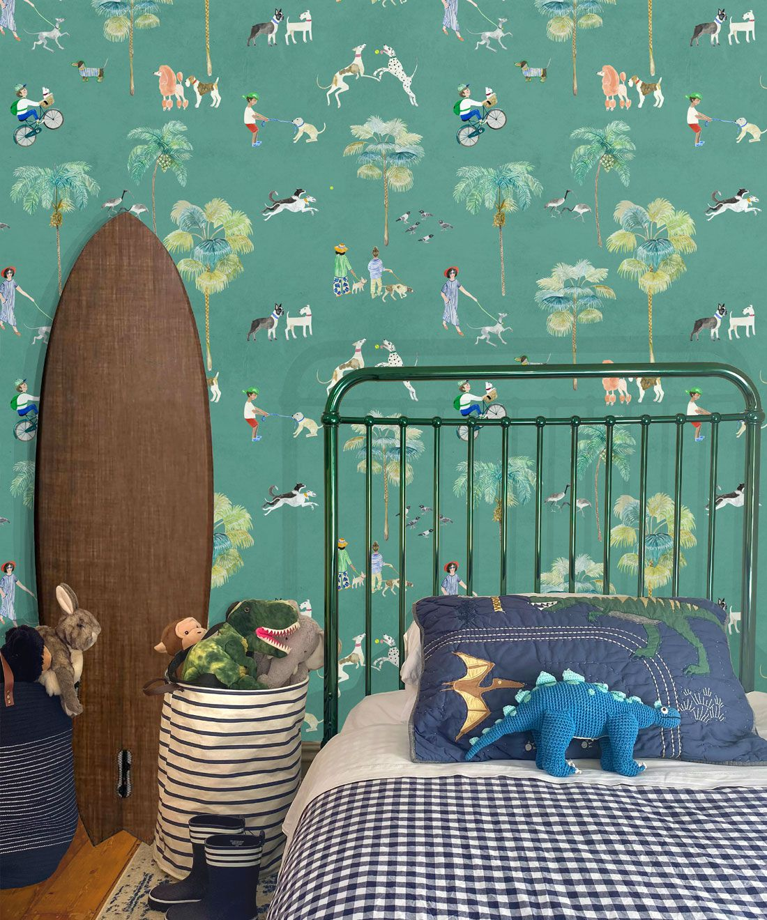 At The Dog Park Wallpaper •Kids Wallpaper • Turquoise • Insitu