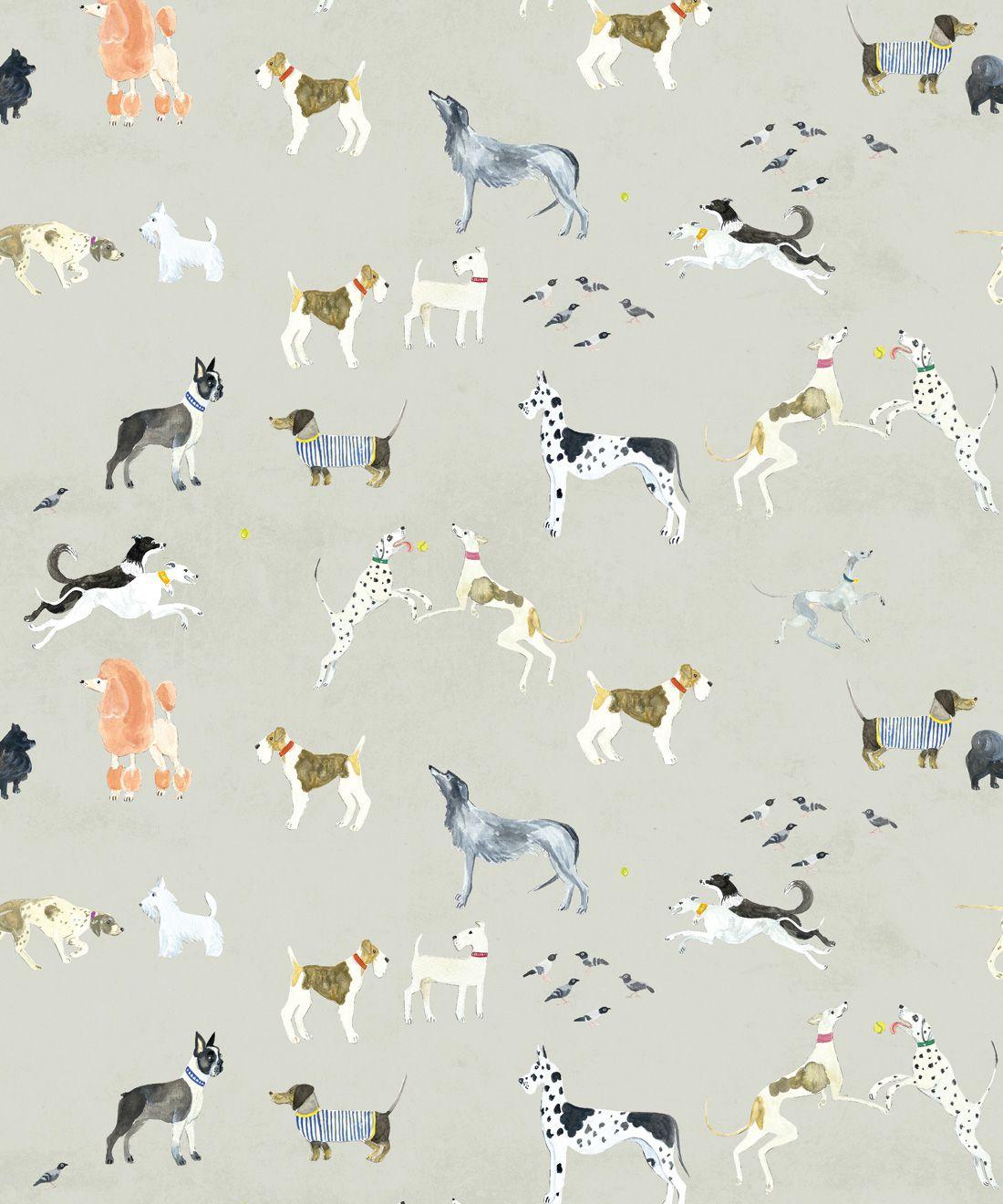 Doggies Wallpaper •Dog Wallpaper •Beige • Swatch