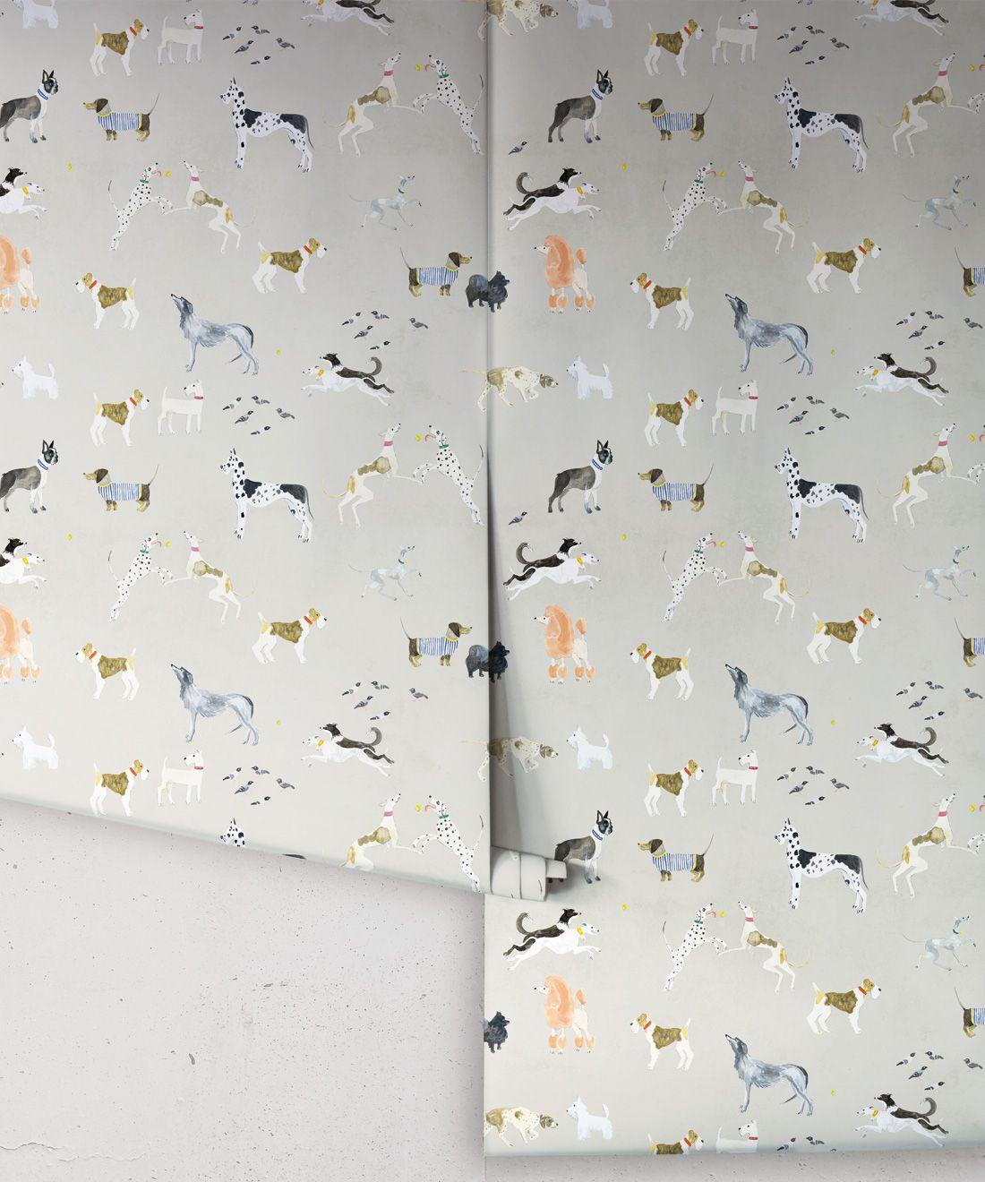 Doggies Wallpaper •Dog Wallpaper •Beige • Rolls