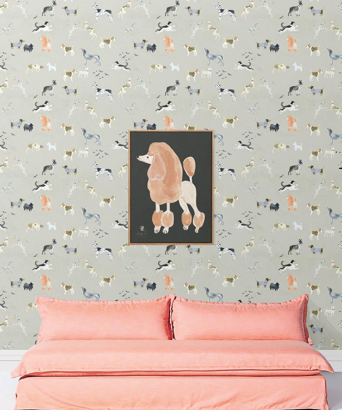 Doggies Wallpaper •Dog Wallpaper •Beige • Insitu with pink sofa