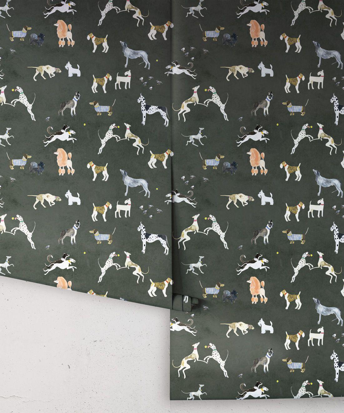 Doggies Wallpaper •Dog Wallpaper •Charcoal • Rolls