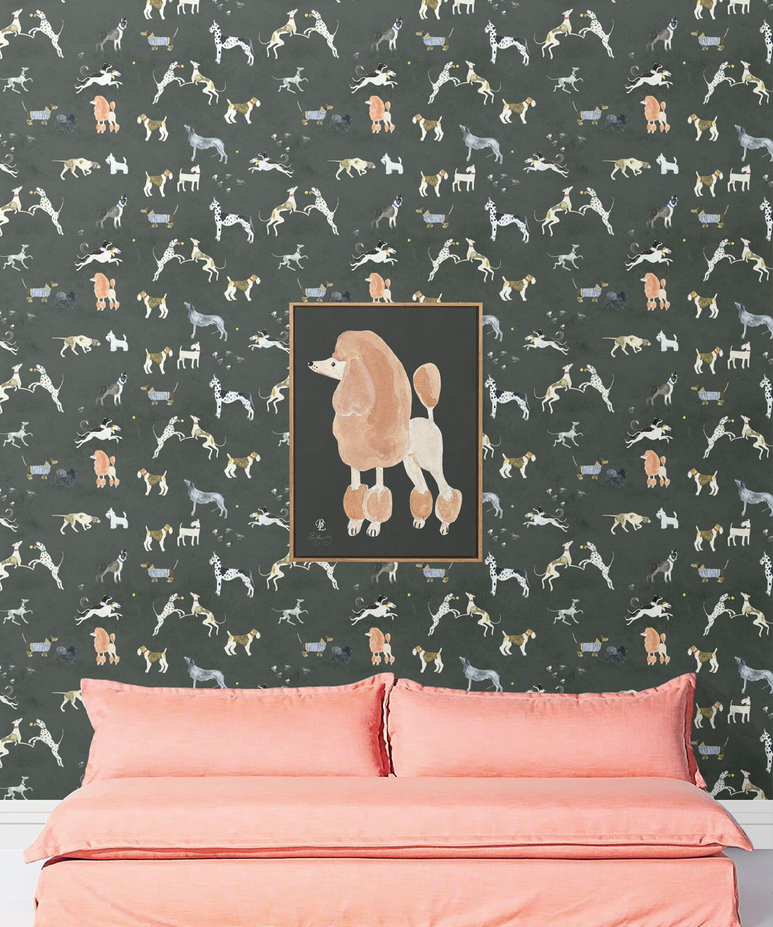 Doggies Wallpaper • Dog Wallpaper • Charcoal • Insitu with pink sofa
