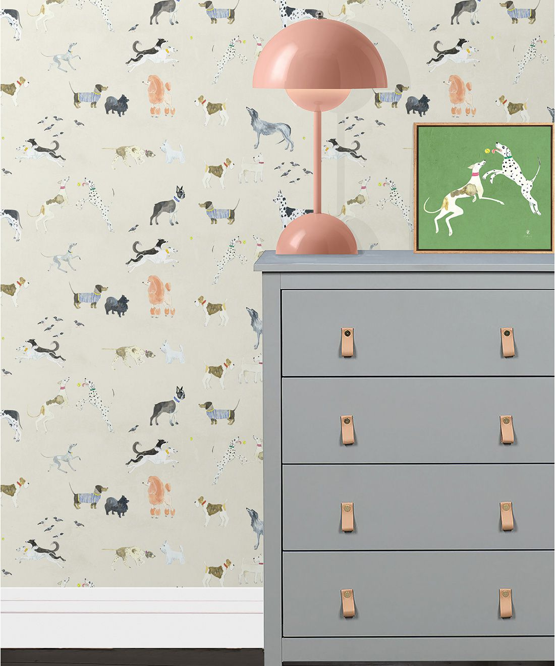 Doggies Wallpaper • Dog Wallpaper • Cream • Insitu with lamp and dresser