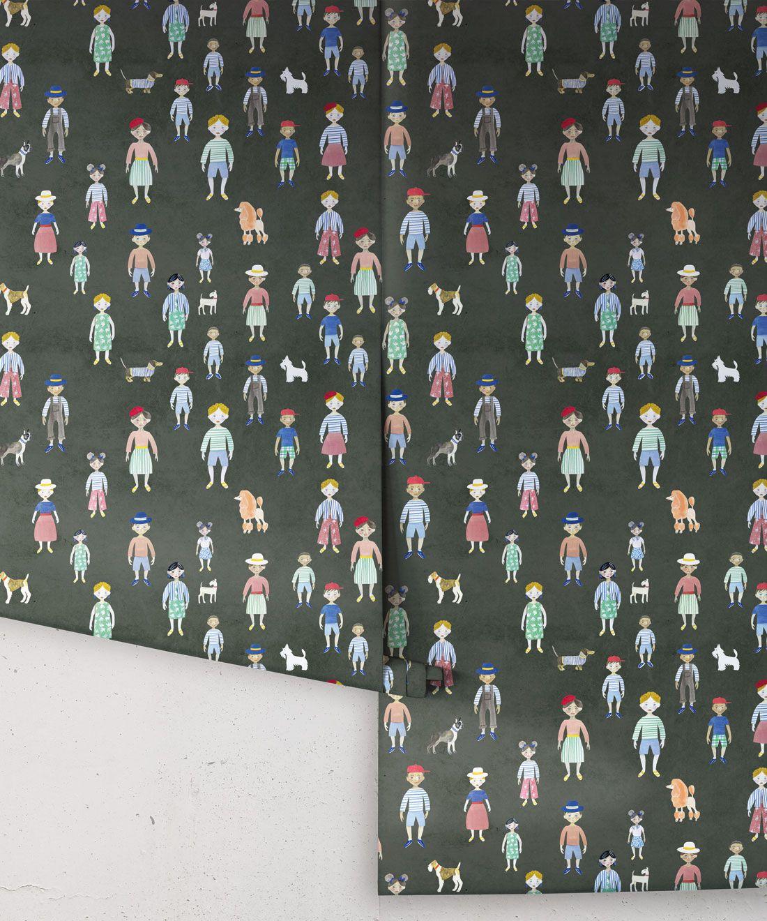 Paper Dolls wallpaper • Charcoal • rolls