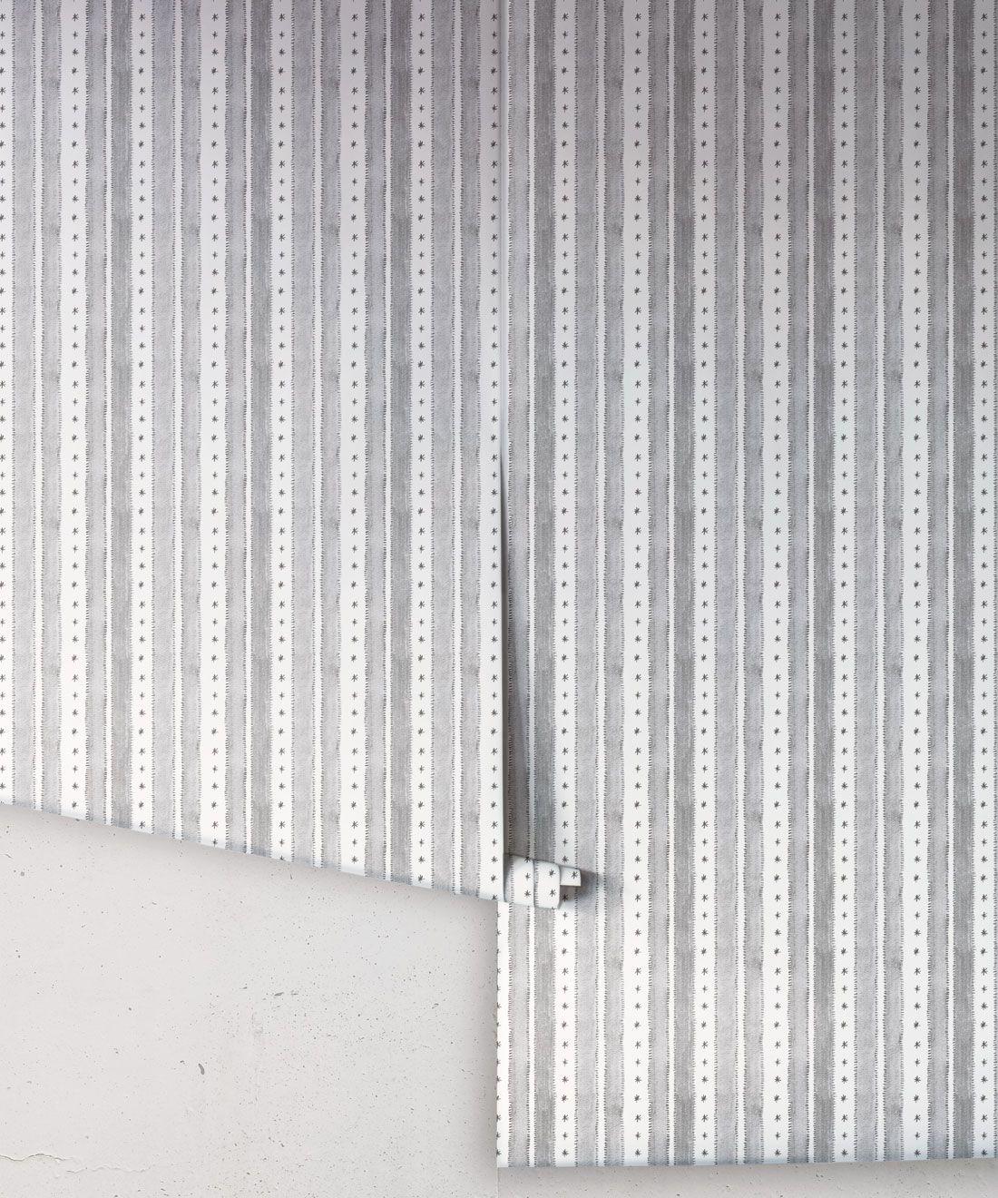 Star Stripe Wallpaper • Charcoal • rolls