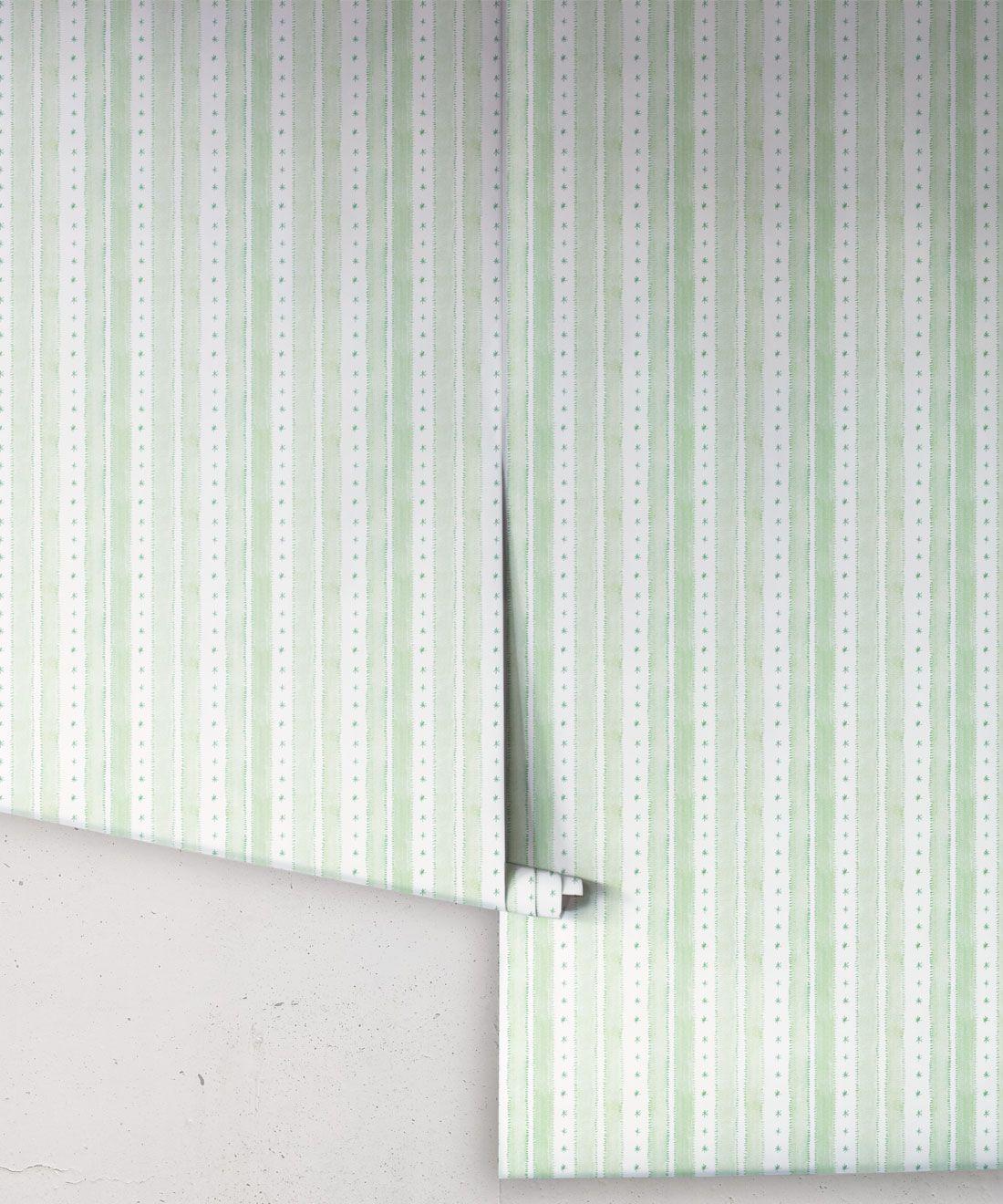 Star Stripe Wallpaper • Green • Rolls