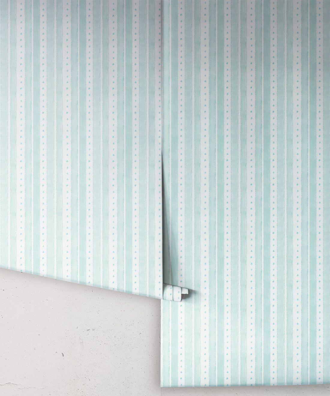 Star Stripe Wallpaper • Turquoise • Rolls