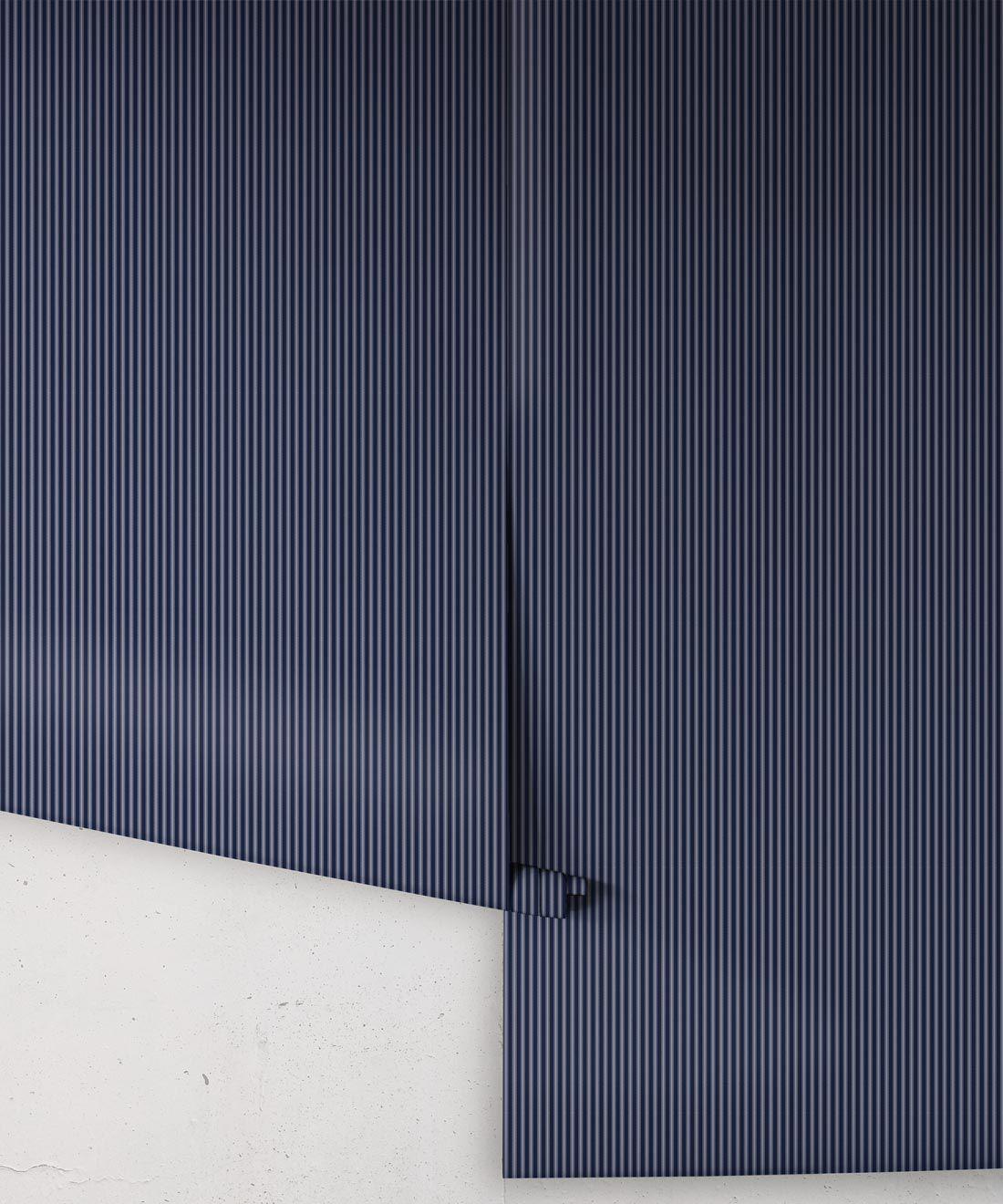 Ticking Stripe Wallpaper • Maastrict Blue Wallpaper • Rolls
