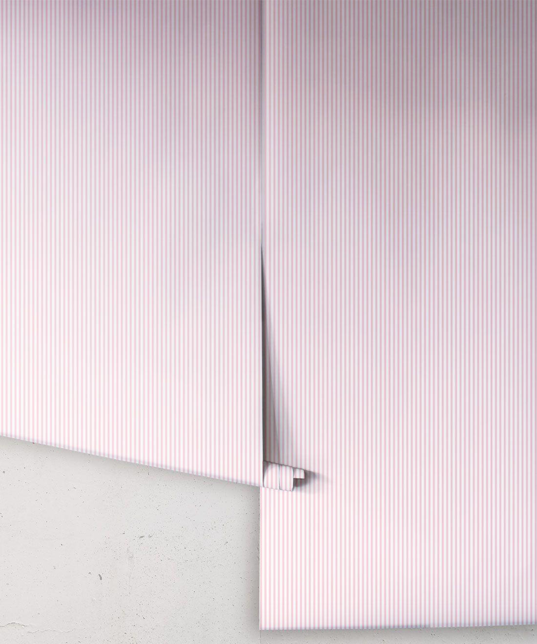Ticking Stripe Wallpaper • Pink Wallpaper • Rolls
