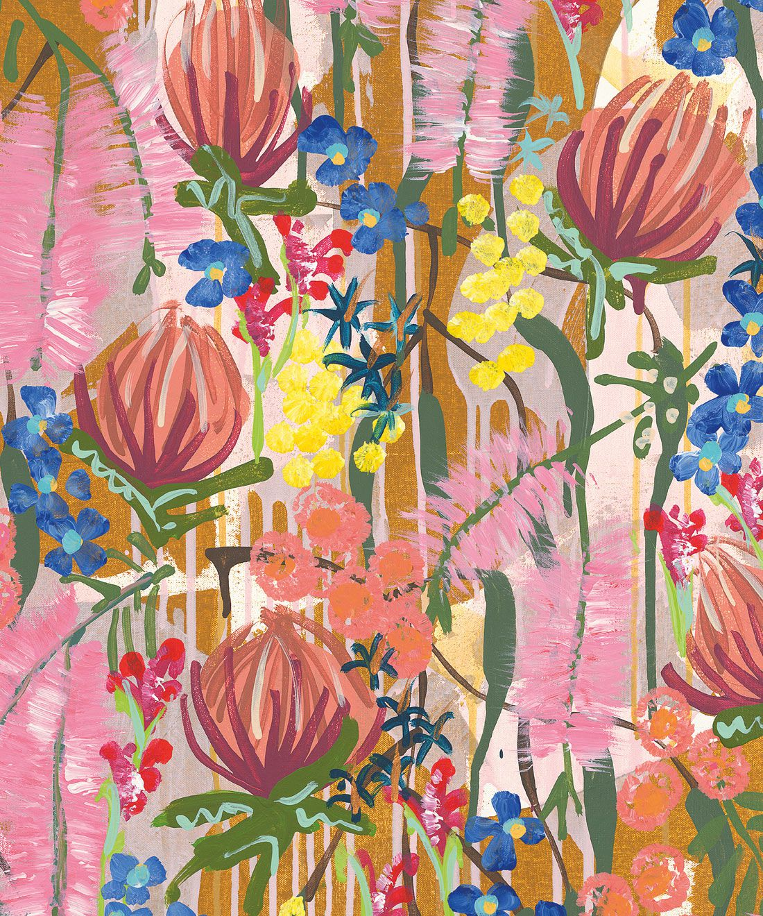 Acacia Wallpaper • Colourful Floral Wallpaper • Tiff Manuell • Abstract Expressionist Wallpaper • Swatch