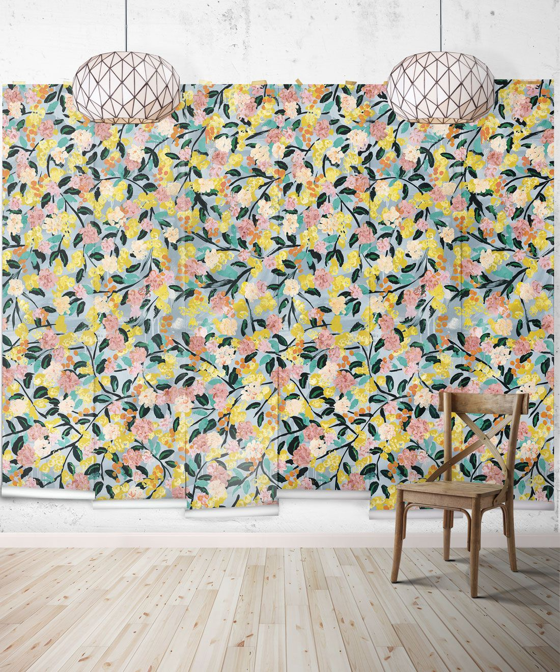 Blossom Wallpaper •Colourful Floral Wallpaper • Tiff Manuell • Abstract Expressionist Wallpaper • Wide Insitu