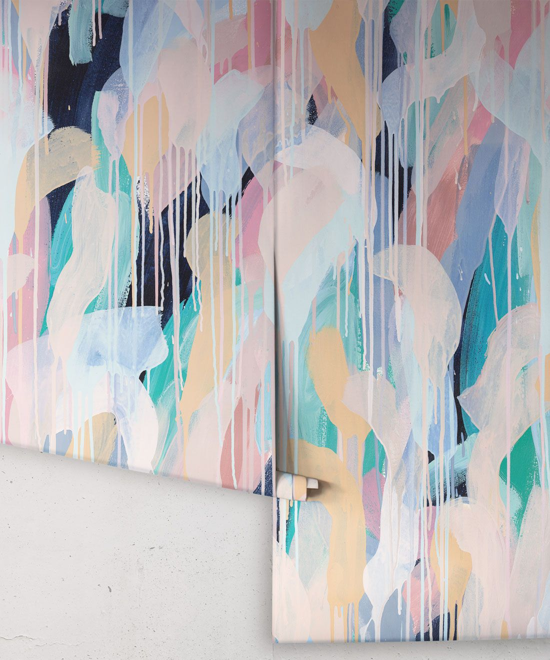 Blue Moon Wallpaper •Colourful Painterly Wallpaper • Tiff Manuell • Abstract Expressionist Wallpaper • Rolls