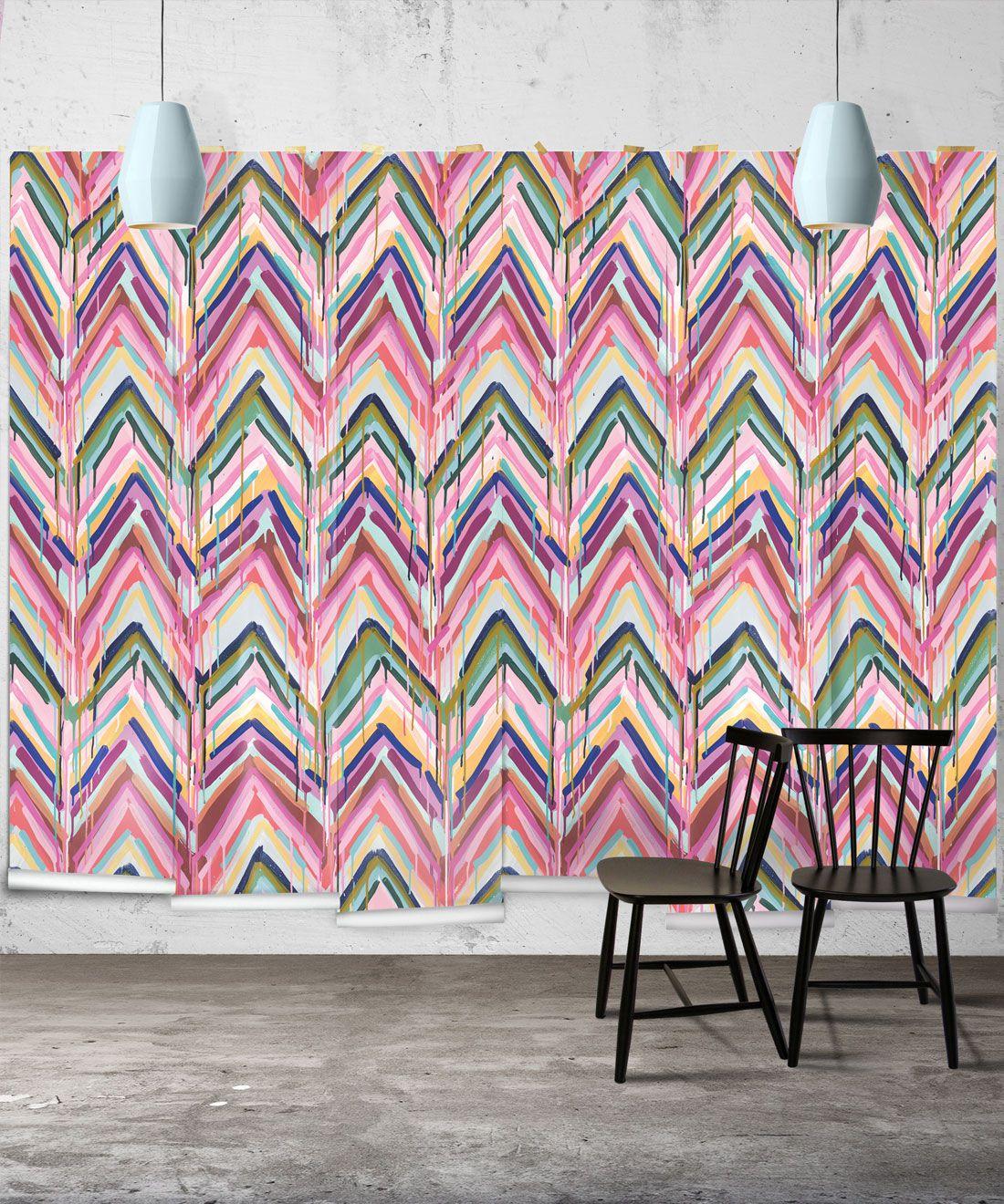 Crossroads Wallpaper •Colourful Painterly Wallpaper • Tiff Manuell • Chevron Wallpaper • Wide Insitu