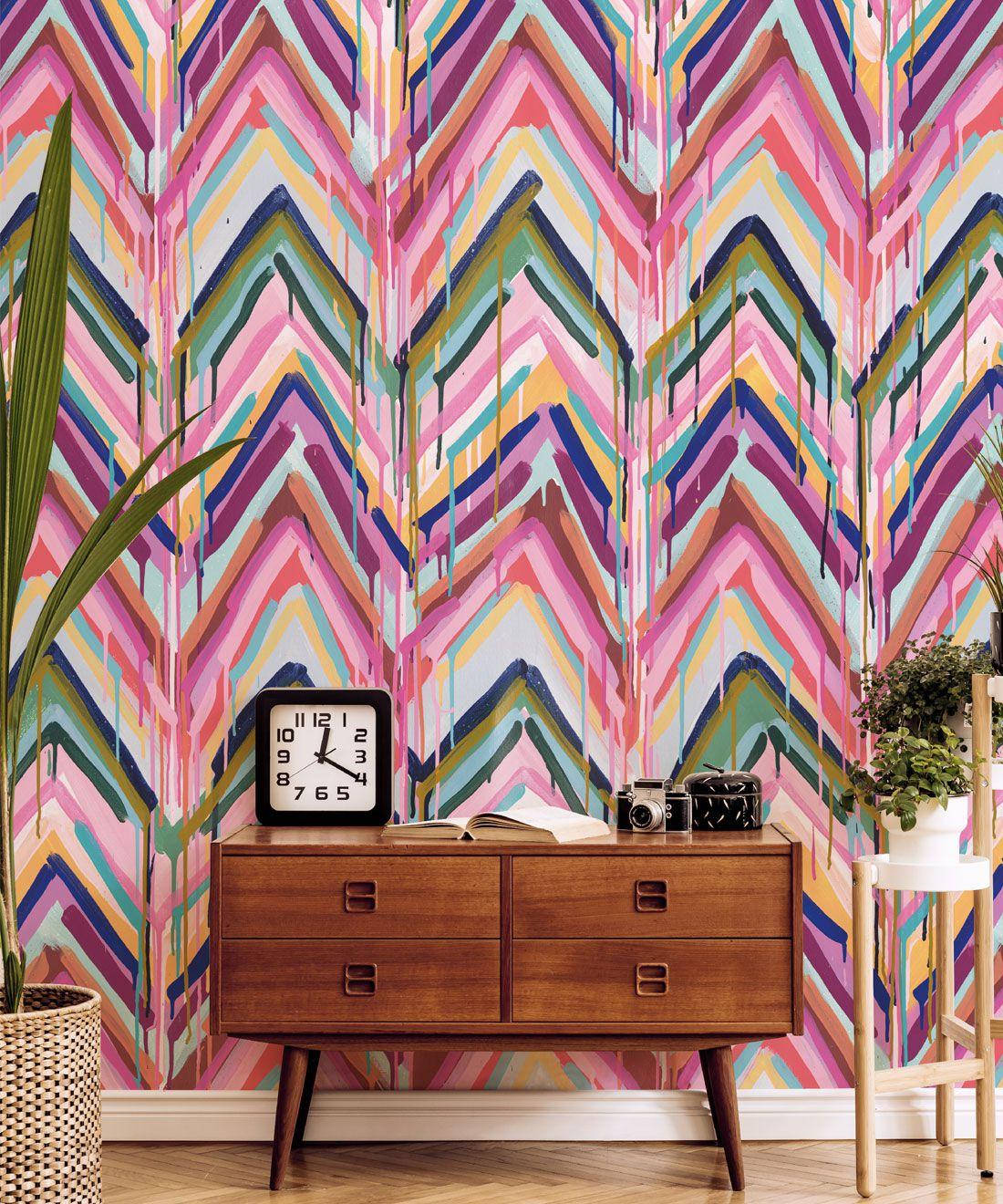Crossroads Wallpaper •Colourful Painterly Wallpaper • Tiff Manuell • Chevron Wallpaper • Closeup Insitu