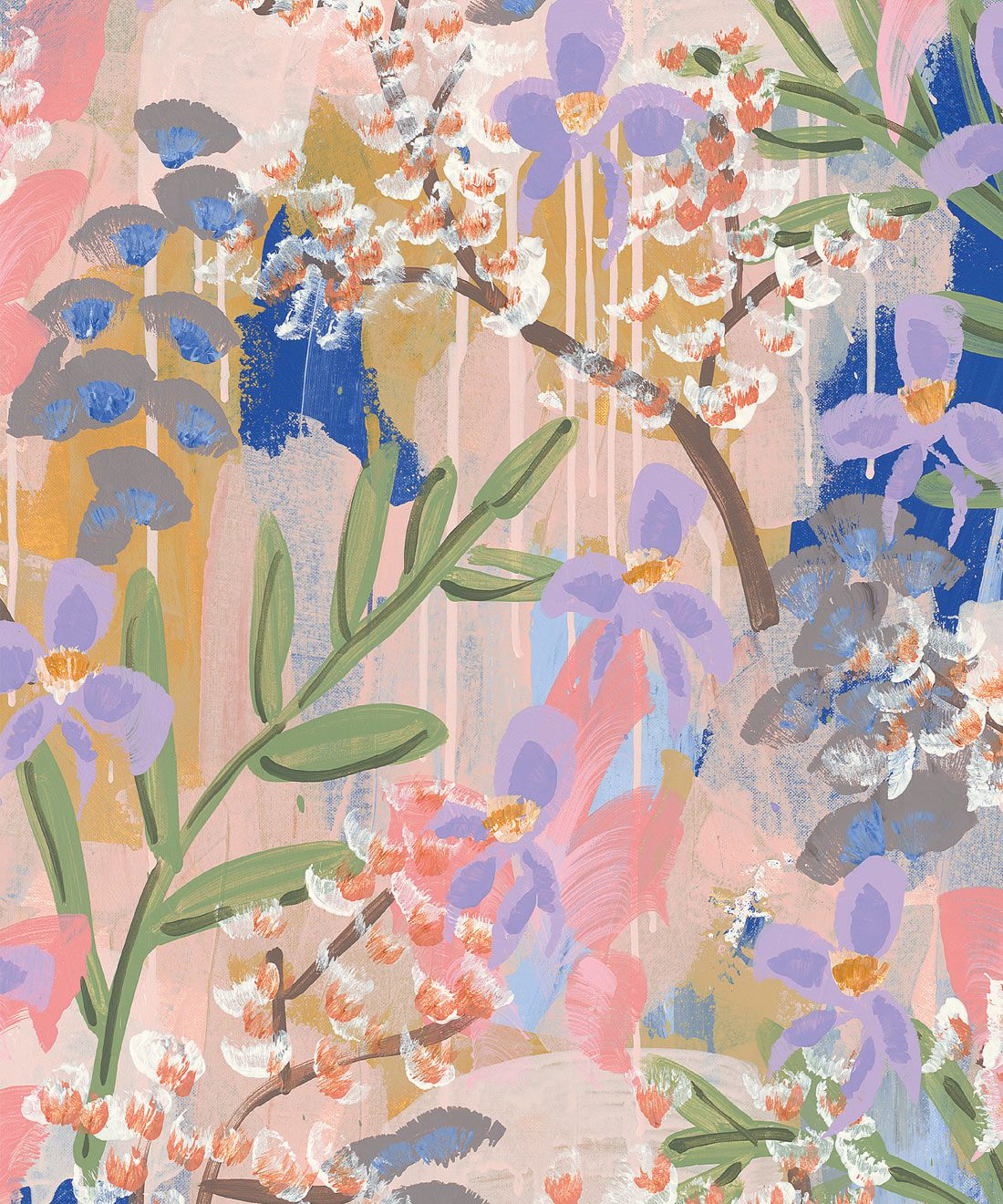 Daphne Wallpaper •Colourful Floral Wallpaper • Tiff Manuell • Abstract Expressionist Wallpaper • Swatch