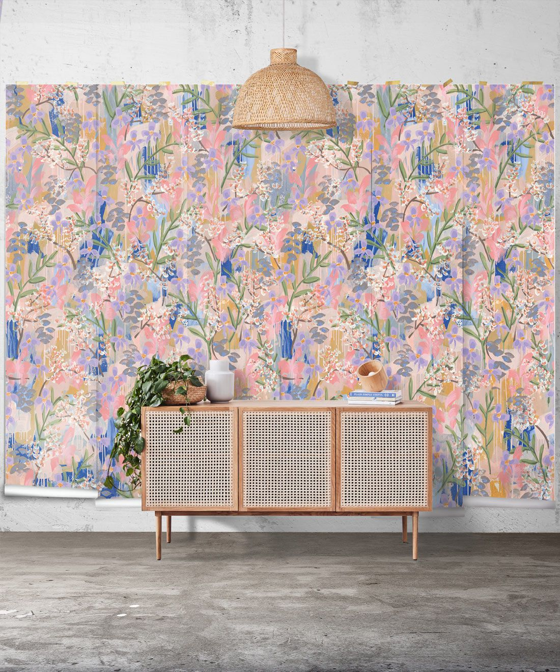 Daphne Wallpaper •Colourful Floral Wallpaper • Tiff Manuell • Abstract Expressionist Wallpaper • Wide Insitu