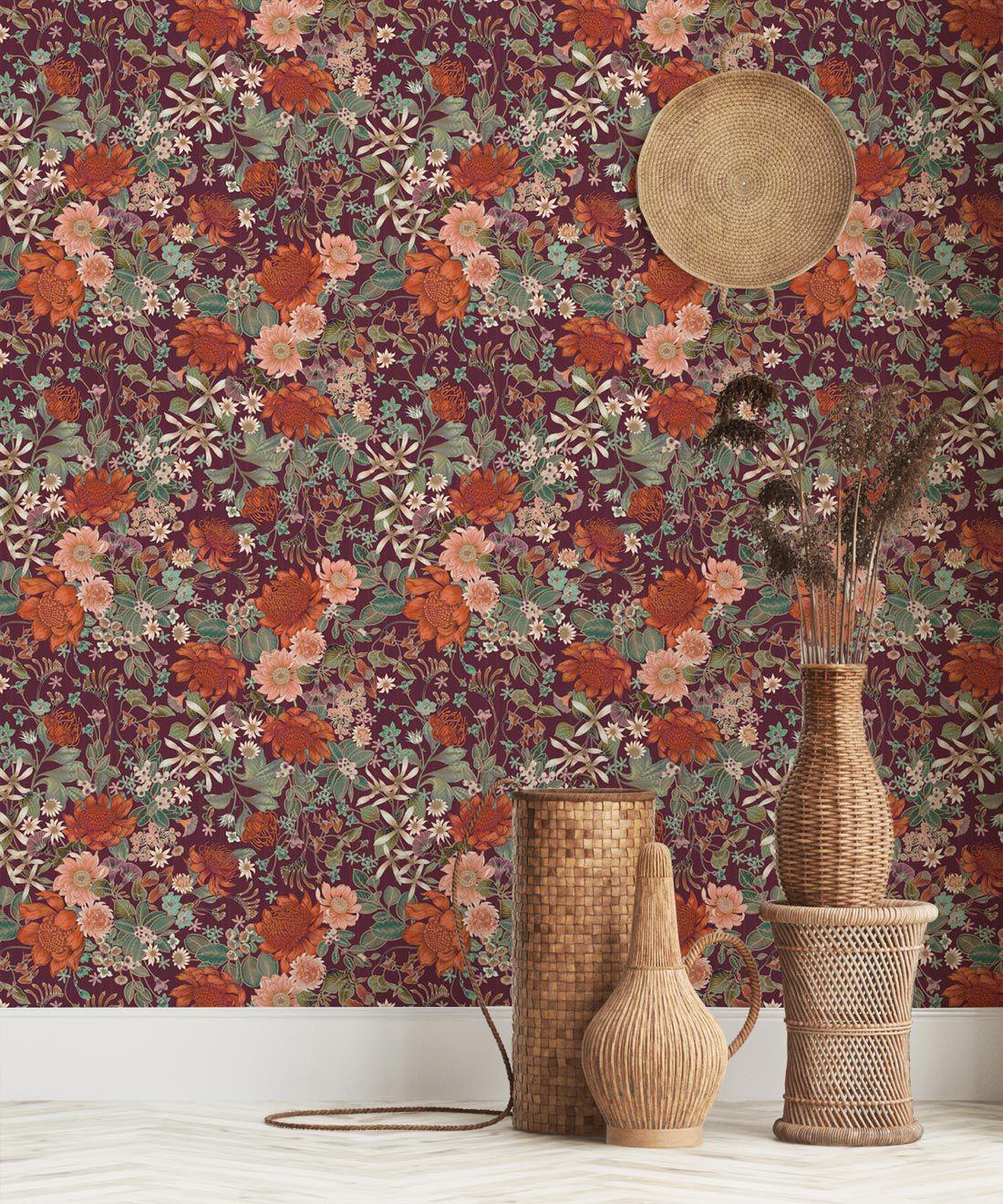 Bouquet Wallpaper • Eloise Short • Vintage Floral Wallpaper •Granny Chic Wallpaper • Grandmillennial Style Wallpaper •Mulberry •Insitu