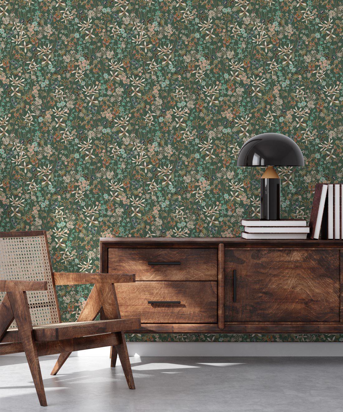 County Flowers Wallpaper • Eloise Short • Vintage Floral Wallpaper •Granny Chic Wallpaper • Grandmillennial Style Wallpaper •Avocado •Insitu