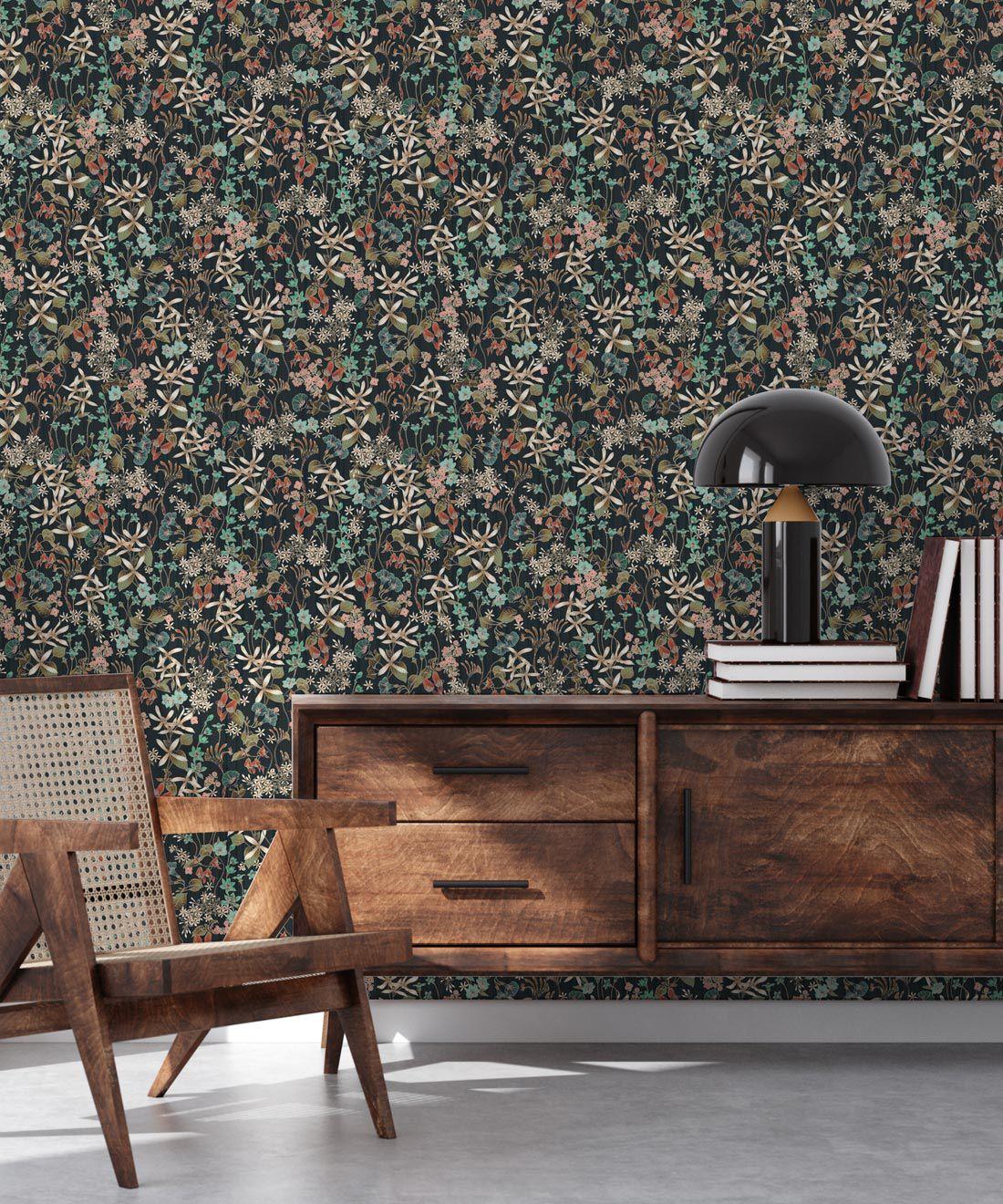 County Flowers Wallpaper • Eloise Short • Vintage Floral Wallpaper •Granny Chic Wallpaper • Grandmillennial Style Wallpaper •Charcoal •Insitu