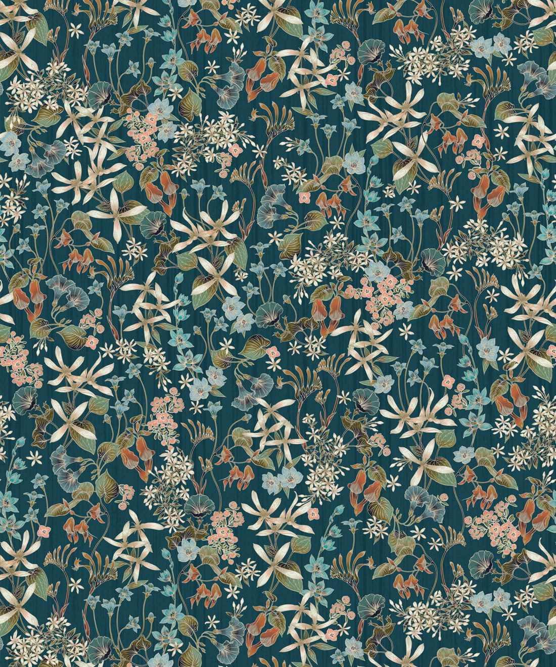 County Flowers Wallpaper • Eloise Short • Vintage Floral Wallpaper •Granny Chic Wallpaper • Grandmillennial Style Wallpaper •Peacock •Swatch