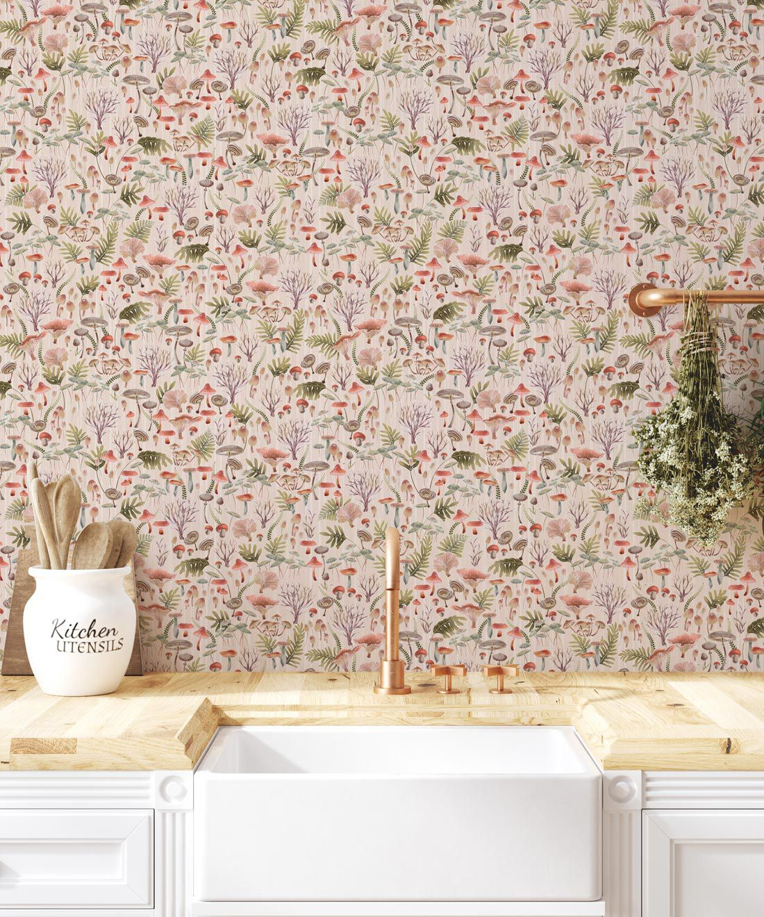 Fungi Wallpaper • Eloise Short • Vintage Floral Wallpaper •Granny Chic Wallpaper • Grandmillennial Style Wallpaper •Latte •Insitu