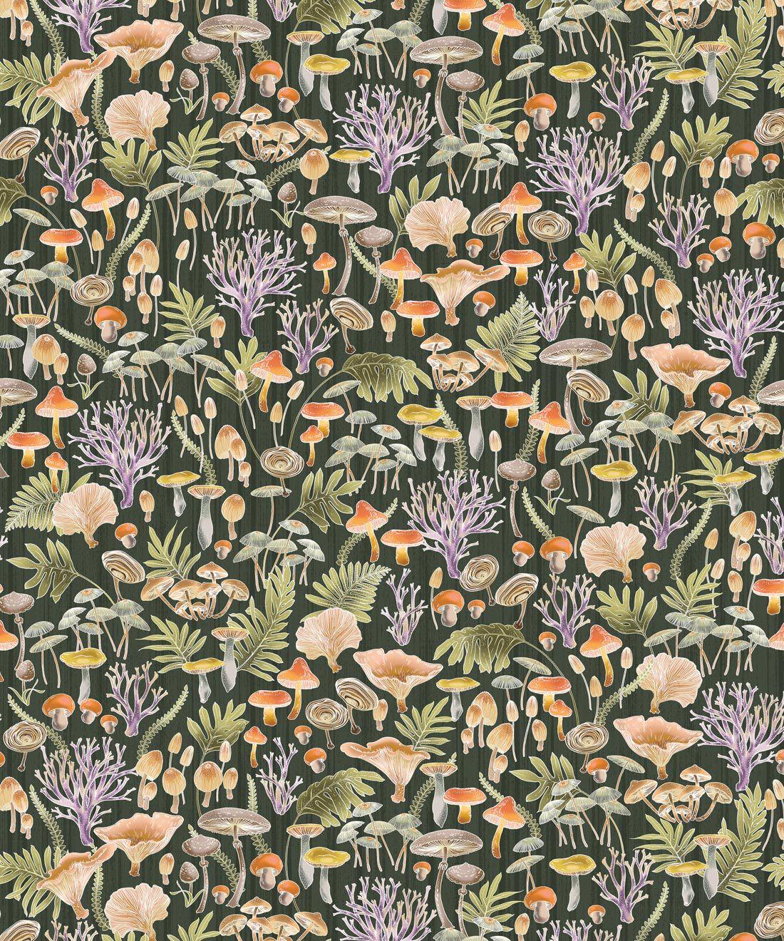 Fungi Wallpaper • Eloise Short • Vintage Floral Wallpaper •Granny Chic Wallpaper • Grandmillennial Style Wallpaper •Olive •Swatch