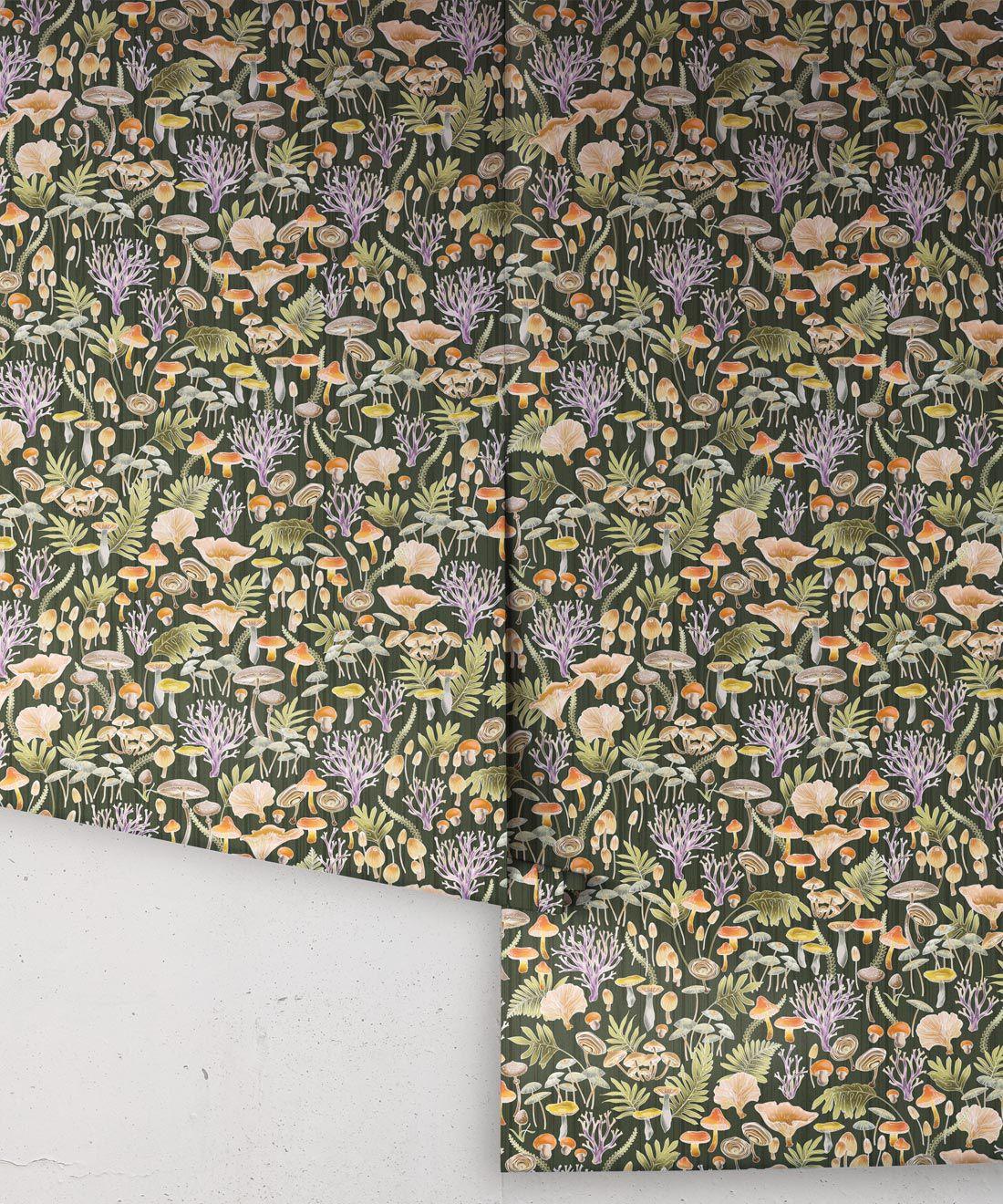 Fungi Wallpaper • Eloise Short • Vintage Floral Wallpaper •Granny Chic Wallpaper • Grandmillennial Style Wallpaper •Olive •Rolls