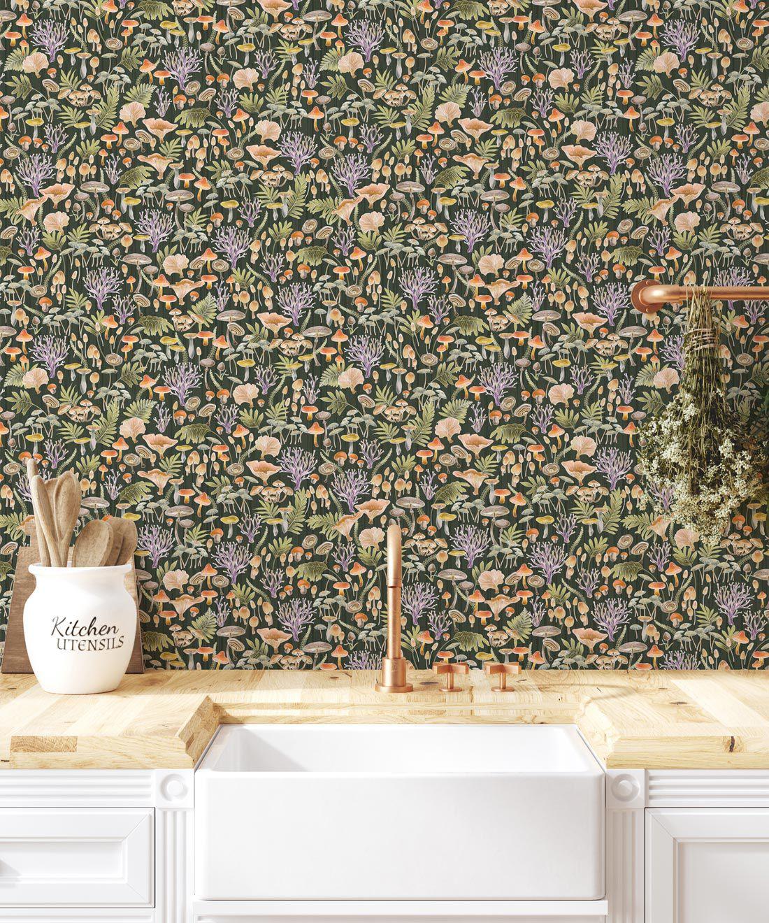 Fungi Wallpaper • Eloise Short • Vintage Floral Wallpaper •Granny Chic Wallpaper • Grandmillennial Style Wallpaper •Olive •Insitu
